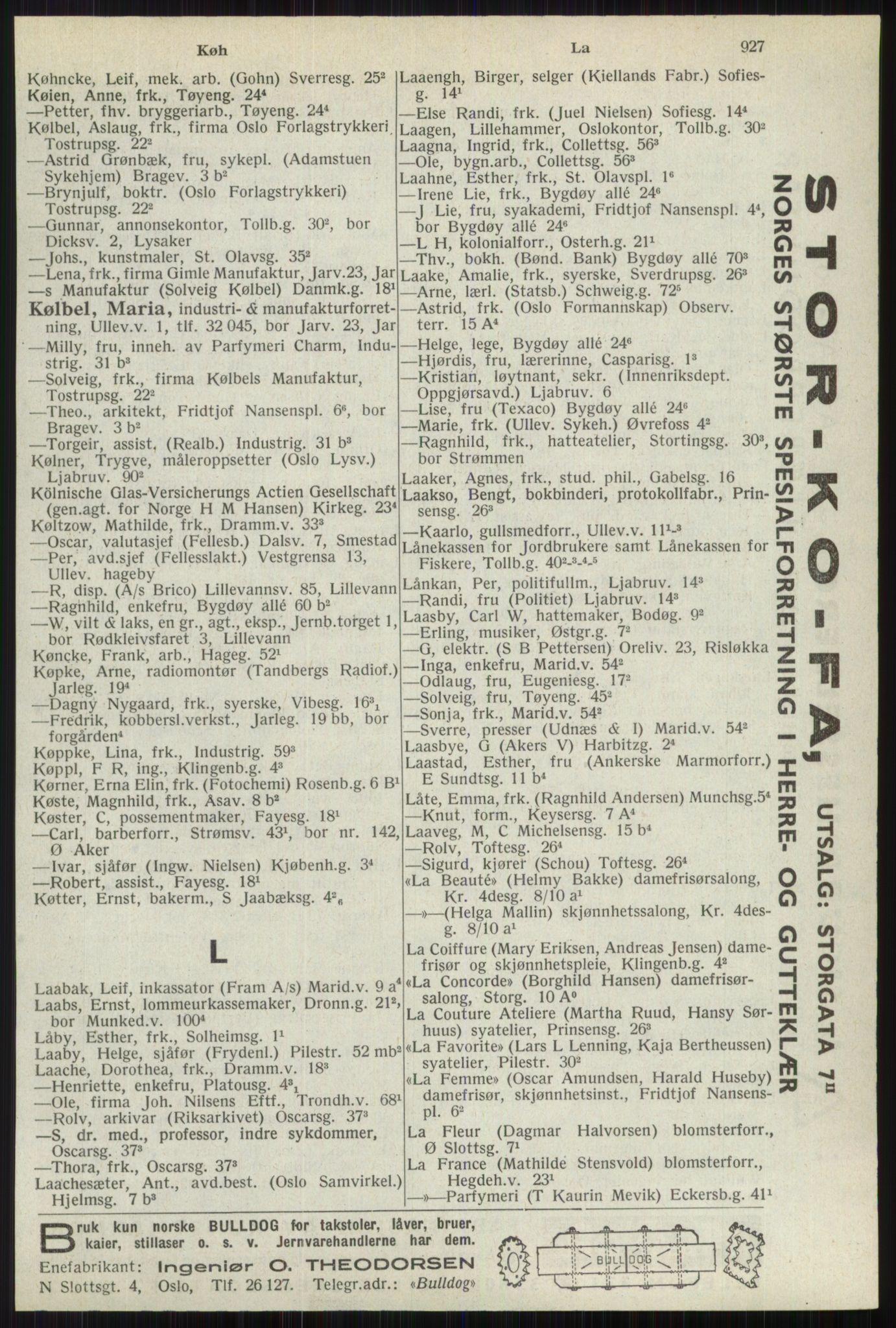 RA, Oslo adressebok (publikasjon)*, 1941, s. 927