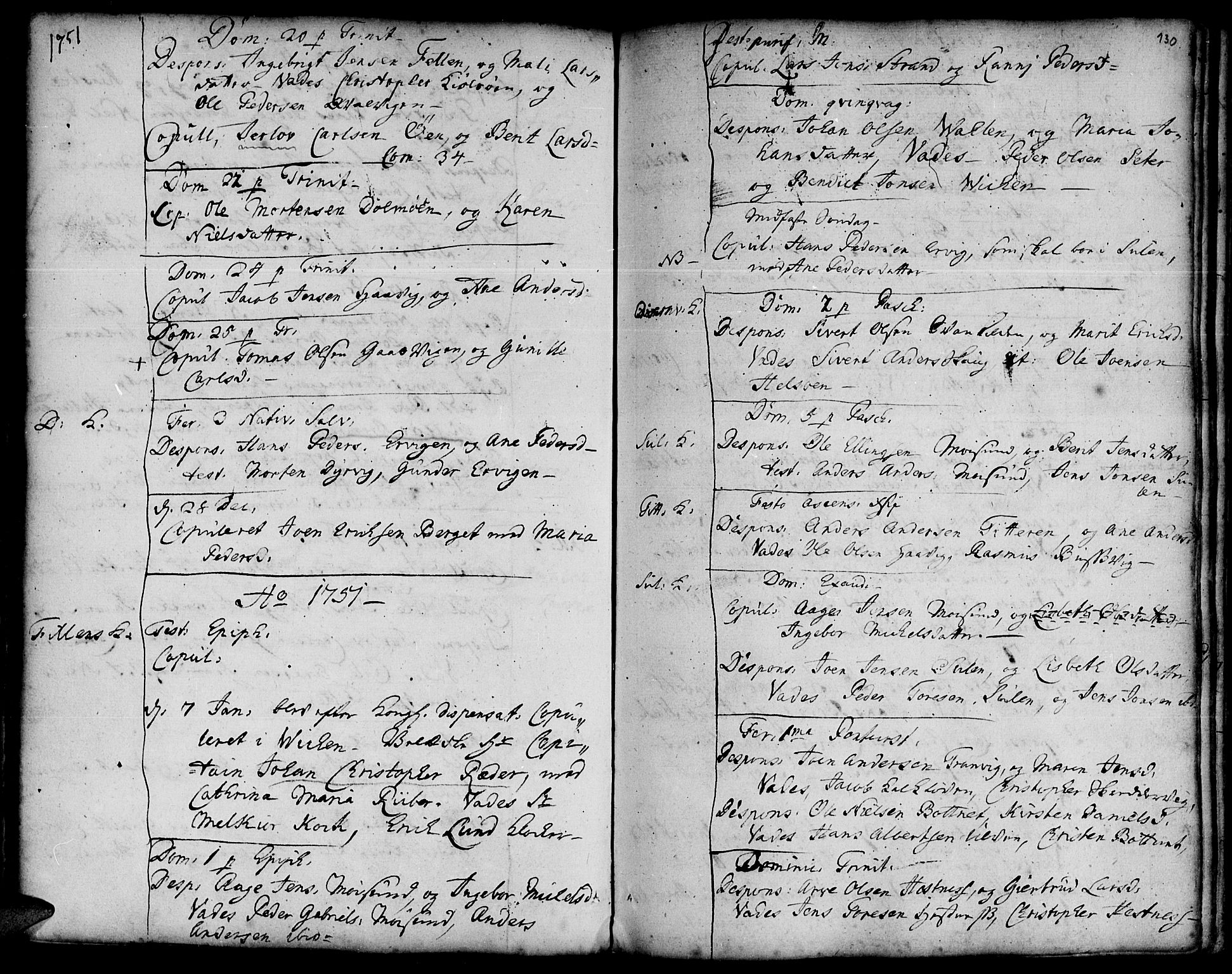 SAT, Ministerialprotokoller, klokkerbøker og fødselsregistre - Sør-Trøndelag, 634/L0525: Ministerialbok nr. 634A01, 1736-1775, s. 130