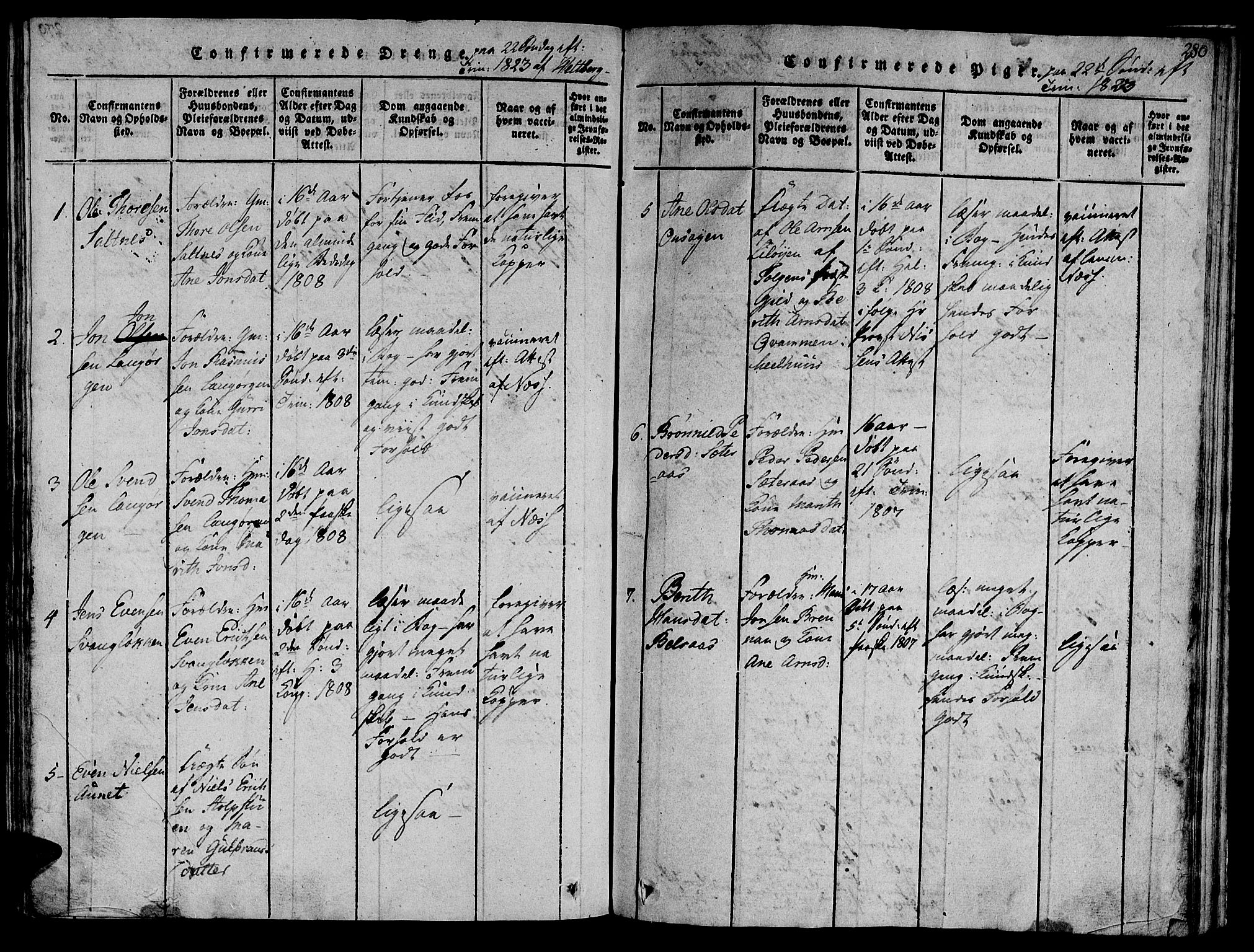 SAT, Ministerialprotokoller, klokkerbøker og fødselsregistre - Sør-Trøndelag, 612/L0373: Ministerialbok nr. 612A06 /2, 1816-1828, s. 280