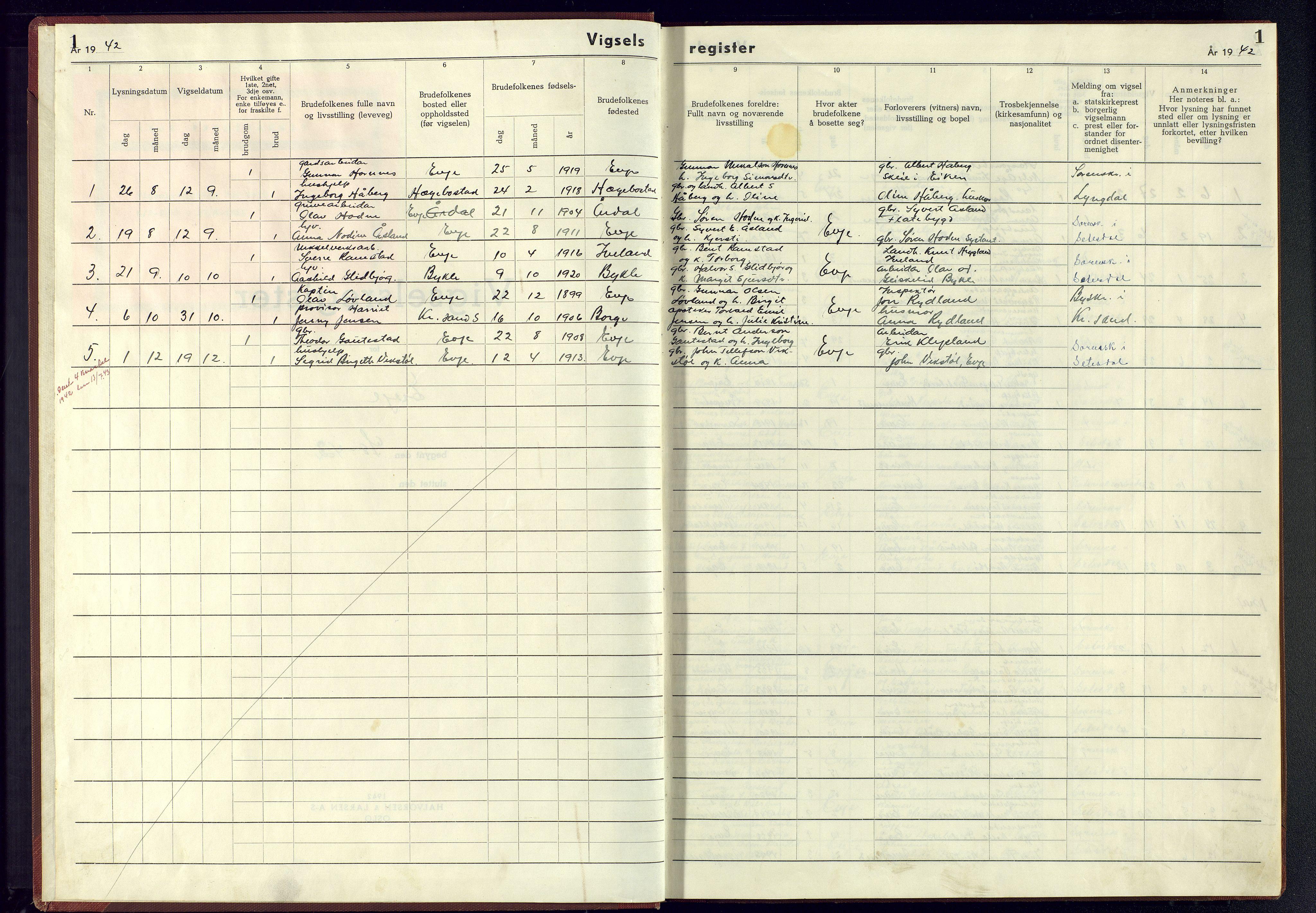 SAK, Evje sokneprestkontor, J/Je/L0004: Vigselsregister nr. II.6.4, 1942-1945, s. 1