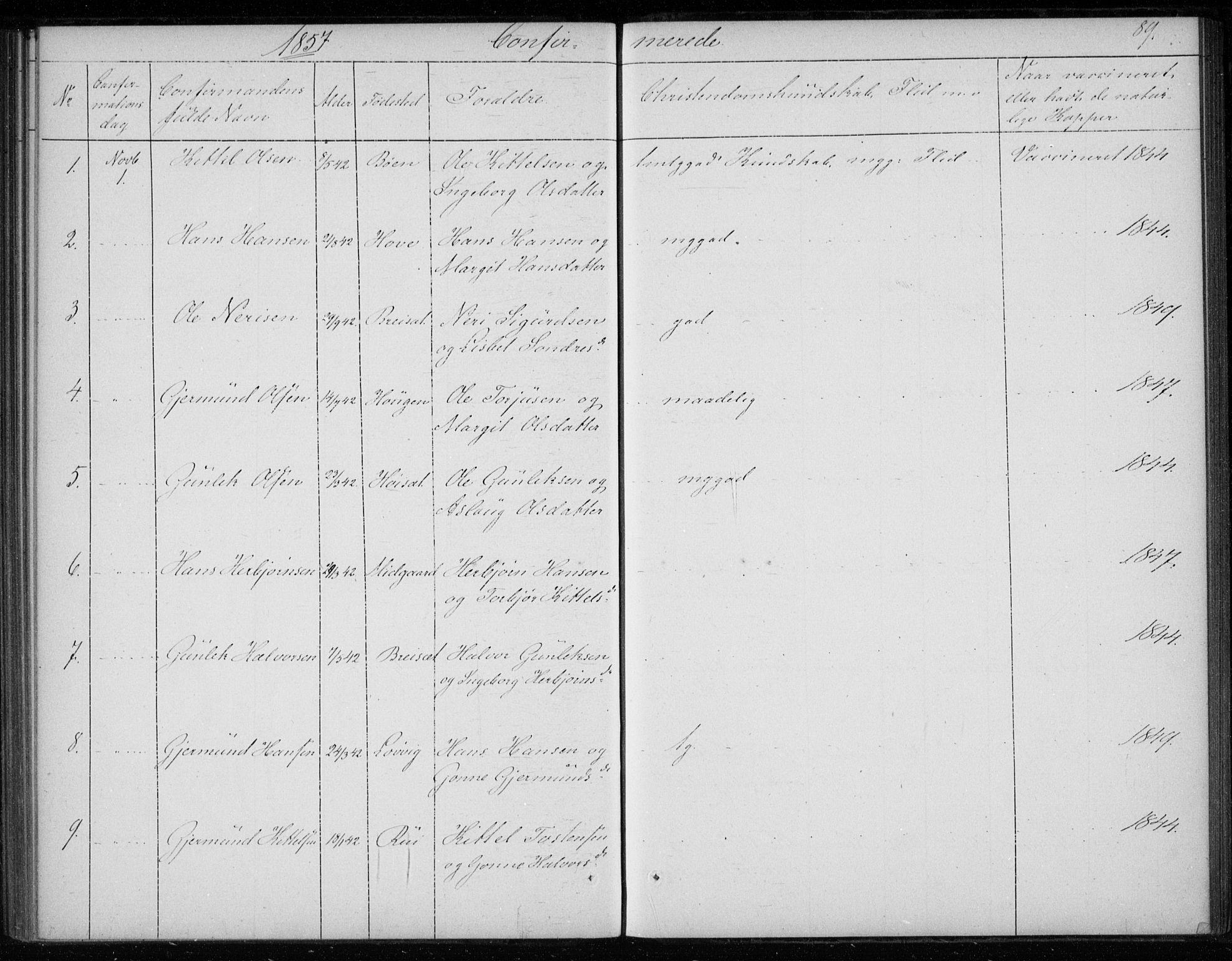 SAKO, Gransherad kirkebøker, F/Fb/L0003: Ministerialbok nr. II 3, 1844-1859, s. 89