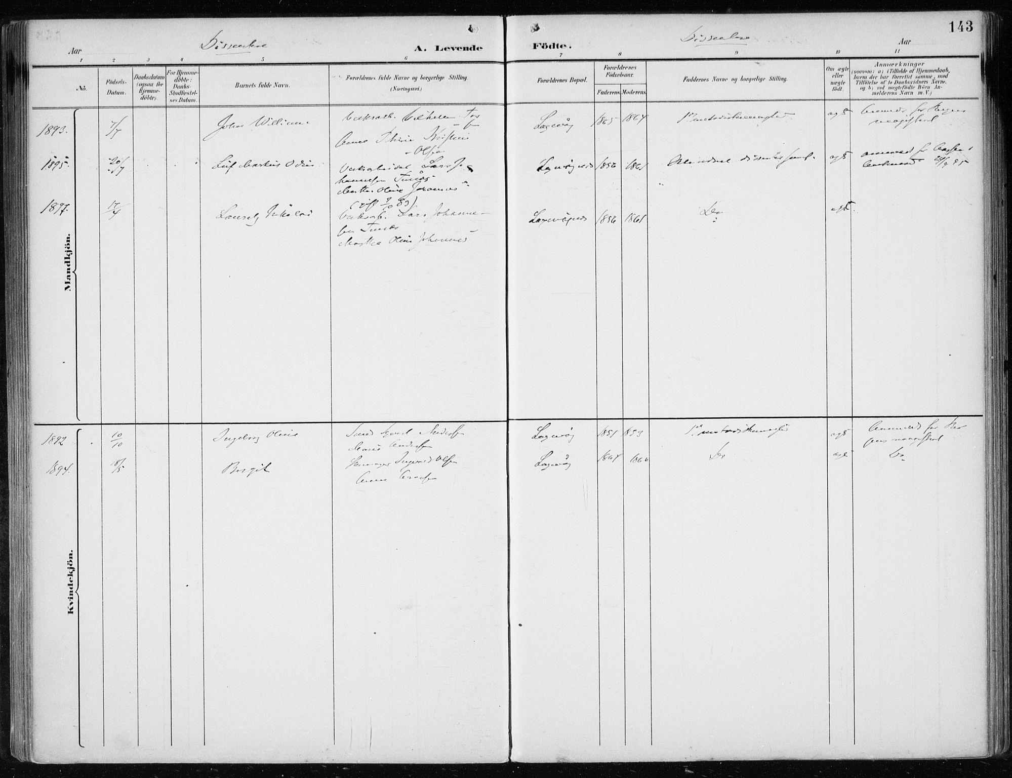 SAB, Laksevåg Sokneprestembete, H/Haa: Ministerialbok nr. A 3, 1891-1903, s. 143