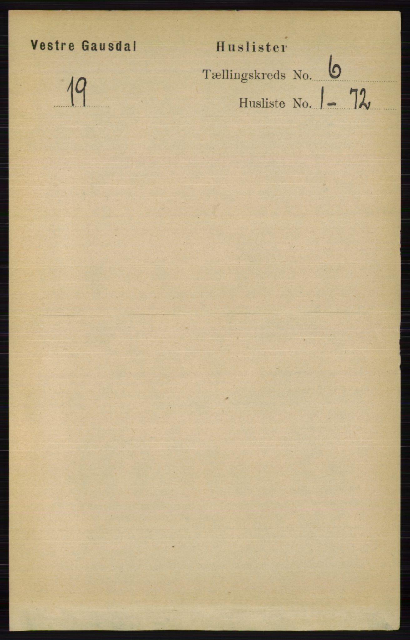 RA, Folketelling 1891 for 0523 Vestre Gausdal herred, 1891, s. 2478