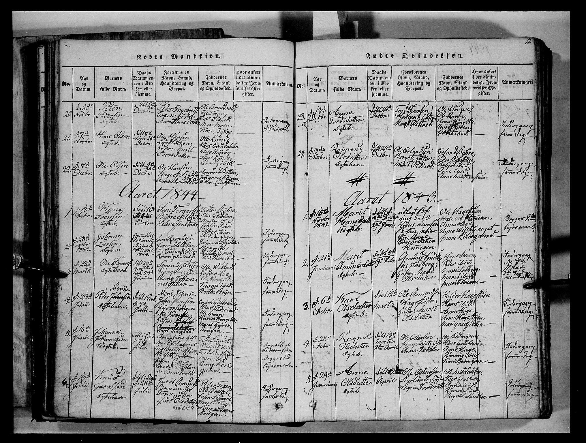 SAH, Fron prestekontor, H/Ha/Hab/L0004: Klokkerbok nr. 4, 1816-1850, s. 72