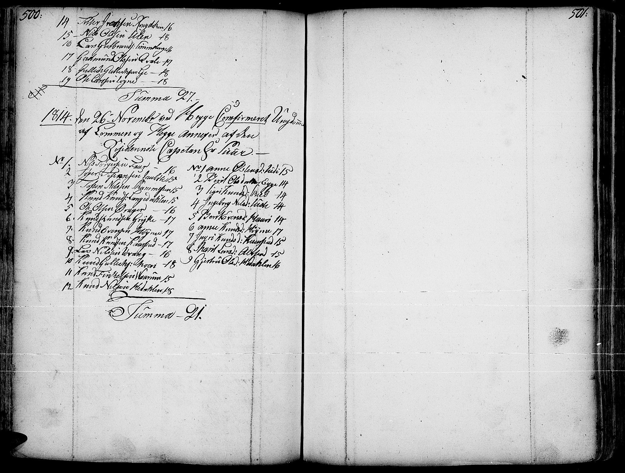 SAH, Slidre prestekontor, Ministerialbok nr. 1, 1724-1814, s. 500-501