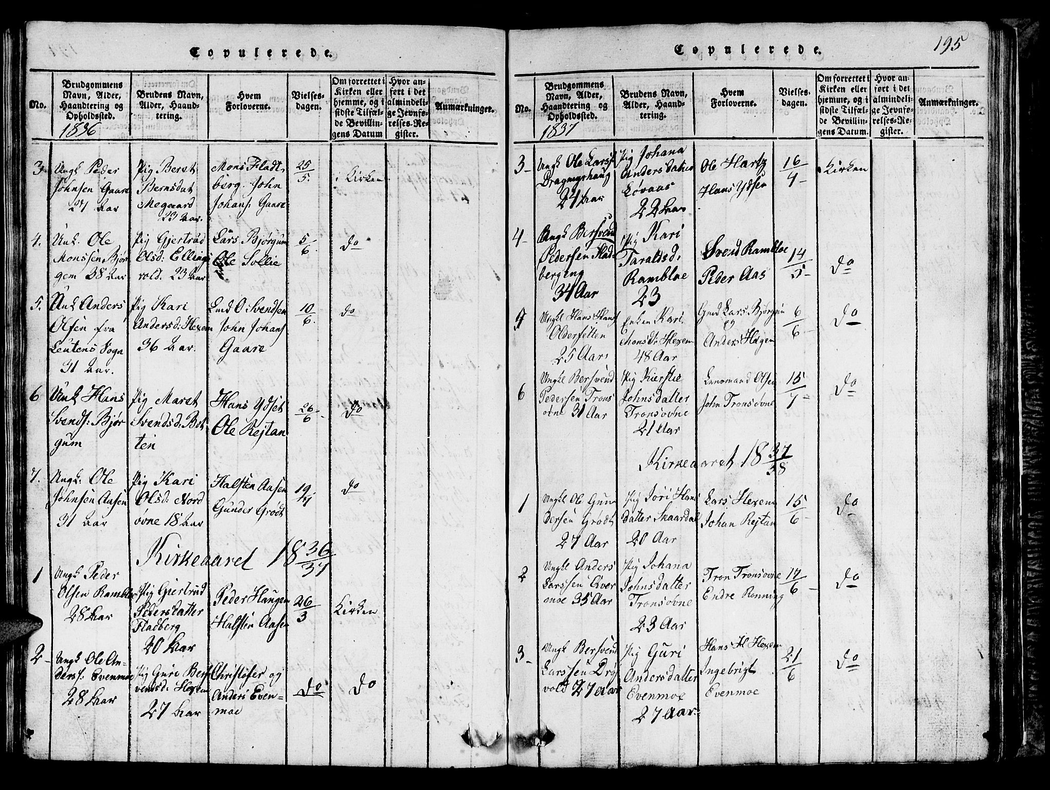 SAT, Ministerialprotokoller, klokkerbøker og fødselsregistre - Sør-Trøndelag, 685/L0976: Klokkerbok nr. 685C01, 1817-1878, s. 195
