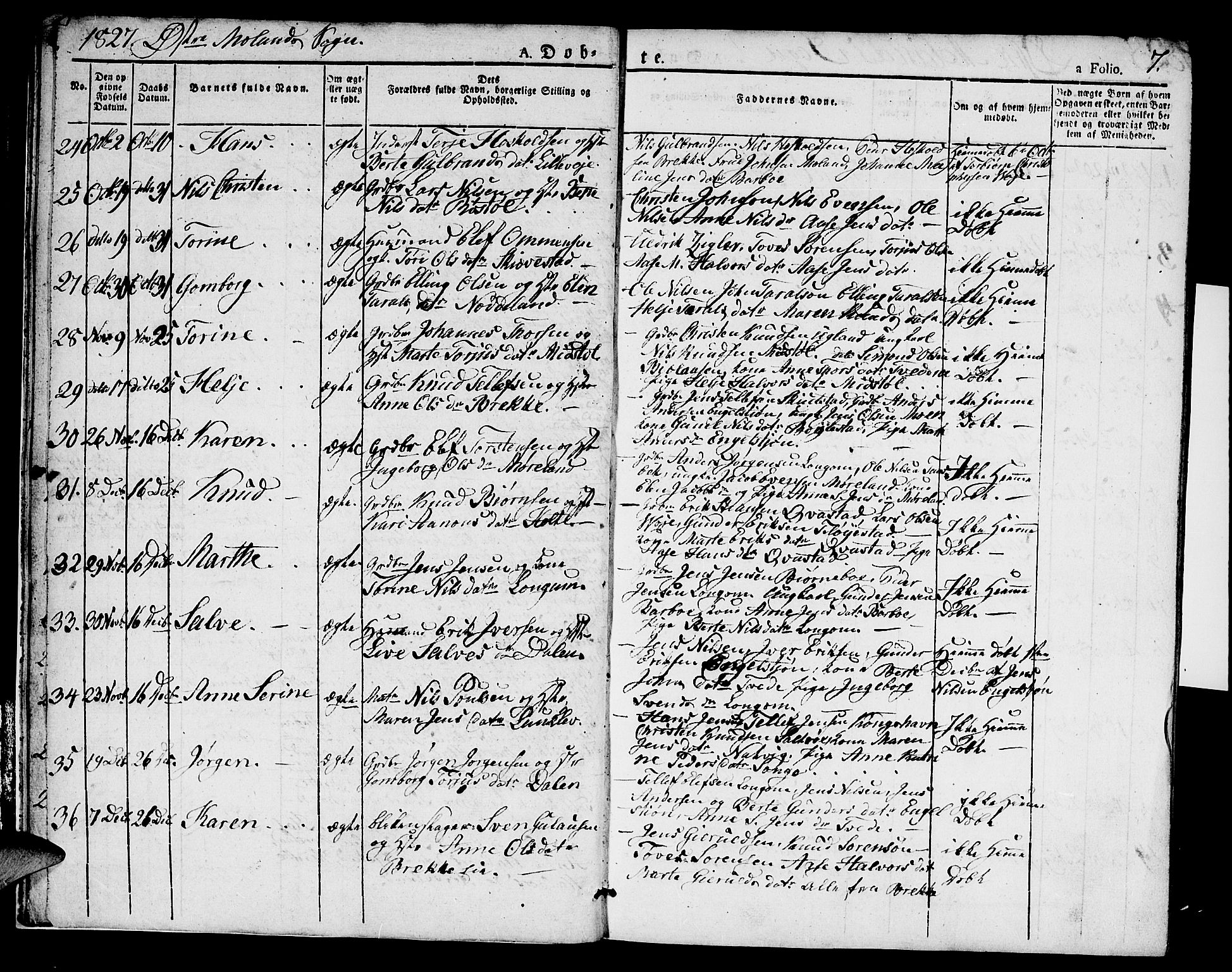 SAK, Austre Moland sokneprestkontor, F/Fa/Faa/L0005: Ministerialbok nr. A 5, 1825-1837, s. 7
