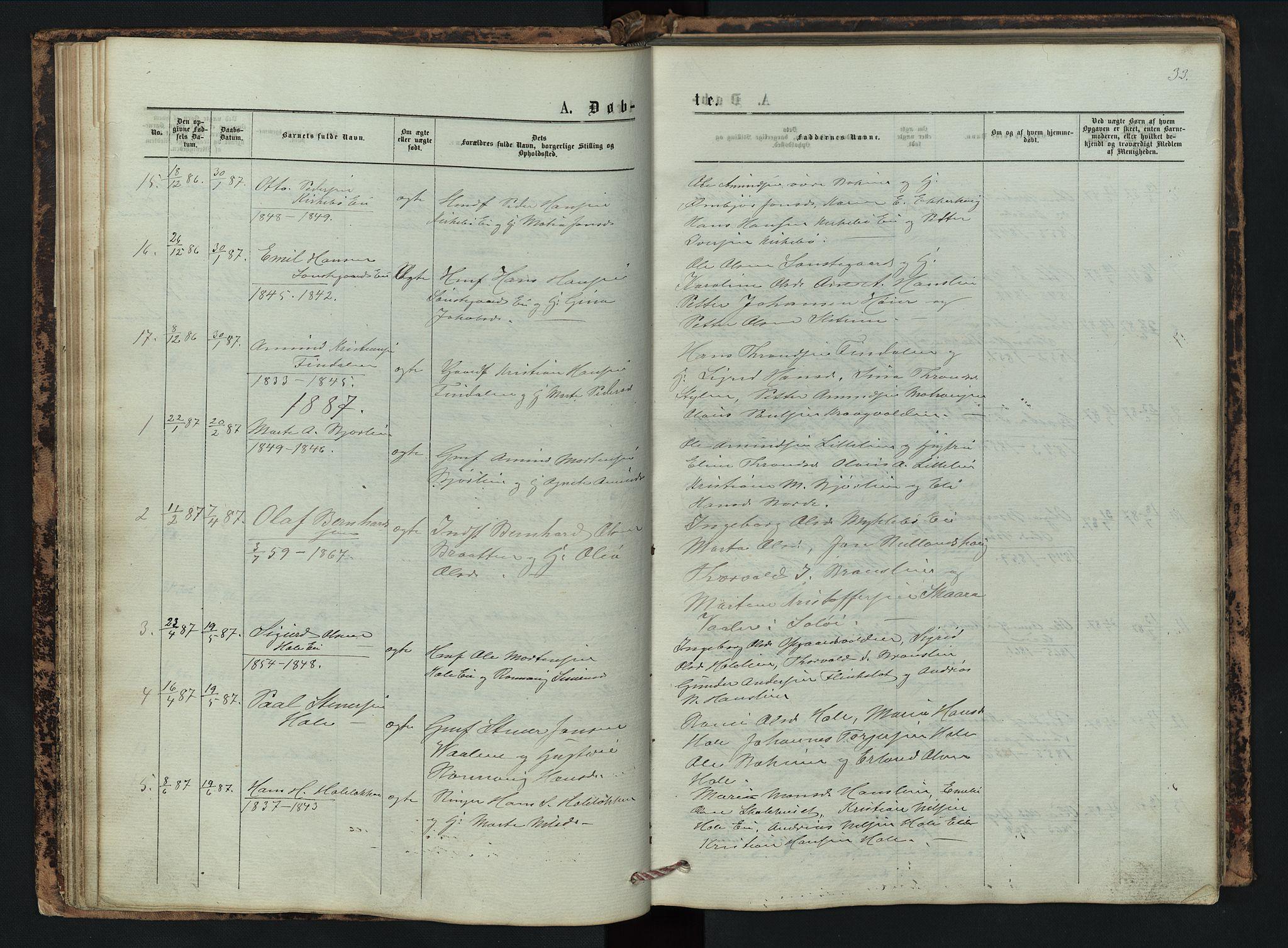 SAH, Vestre Gausdal prestekontor, Klokkerbok nr. 2, 1874-1897, s. 33