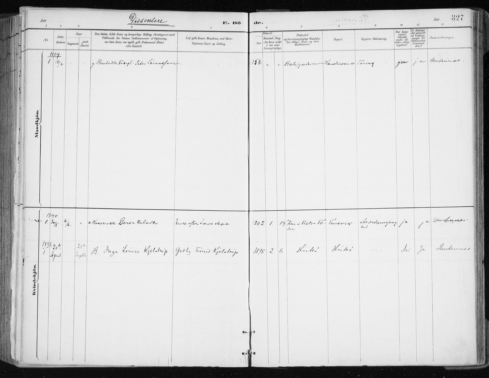 SATØ, Tromsøysund sokneprestkontor, G/Ga/L0005kirke: Ministerialbok nr. 5, 1888-1896, s. 327
