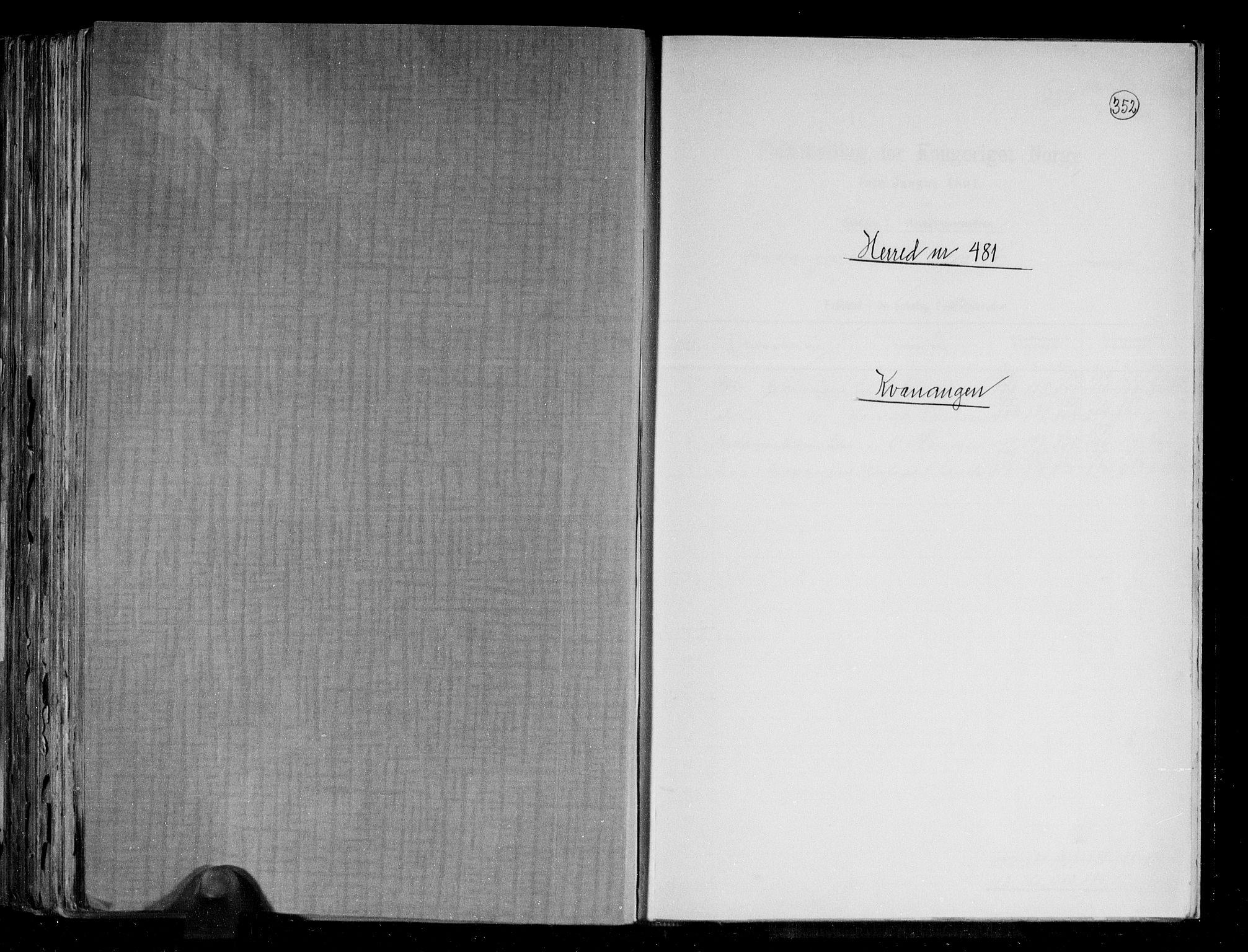 RA, Folketelling 1891 for 1943 Kvænangen herred, 1891, s. 1