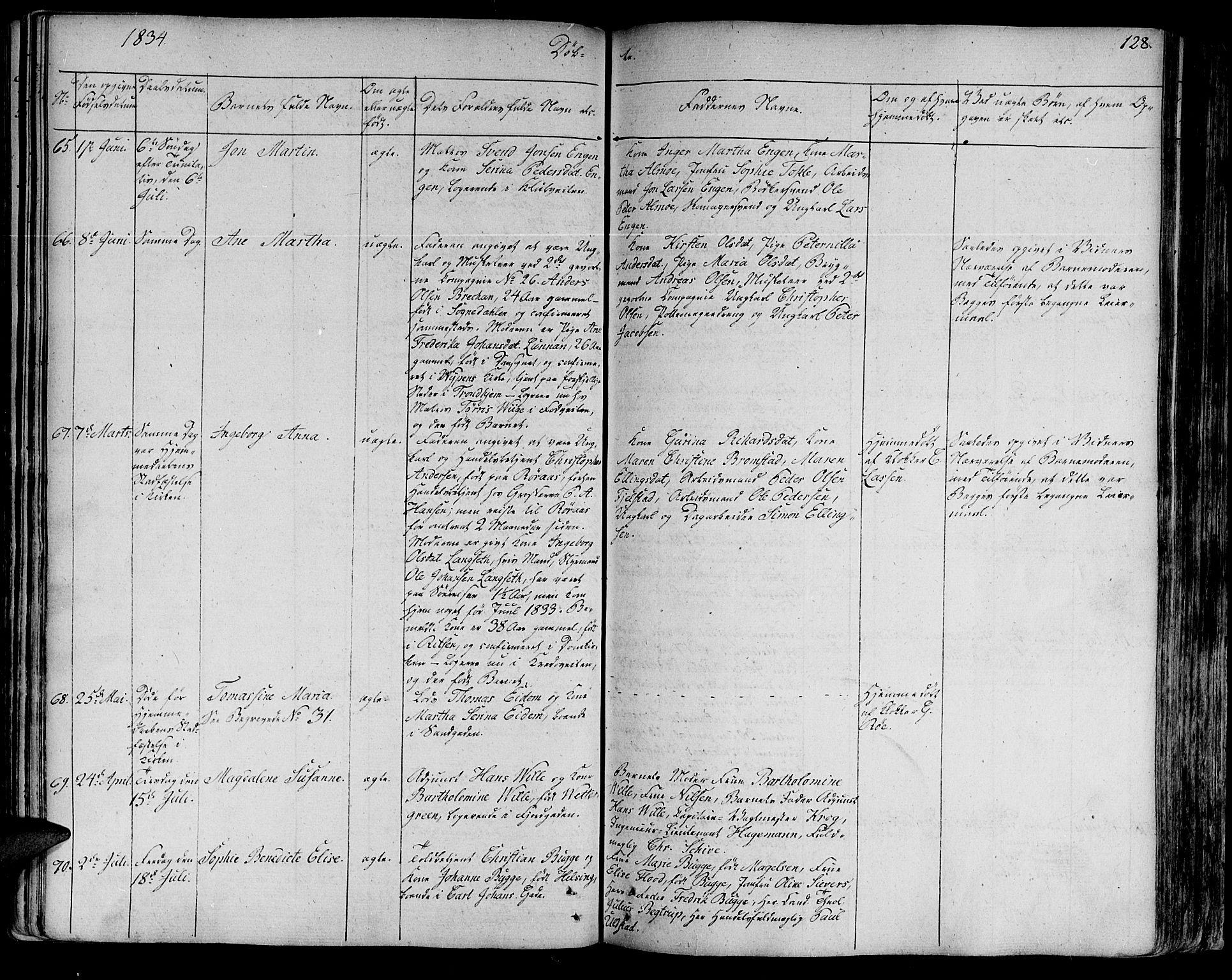 SAT, Ministerialprotokoller, klokkerbøker og fødselsregistre - Sør-Trøndelag, 602/L0108: Ministerialbok nr. 602A06, 1821-1839, s. 128