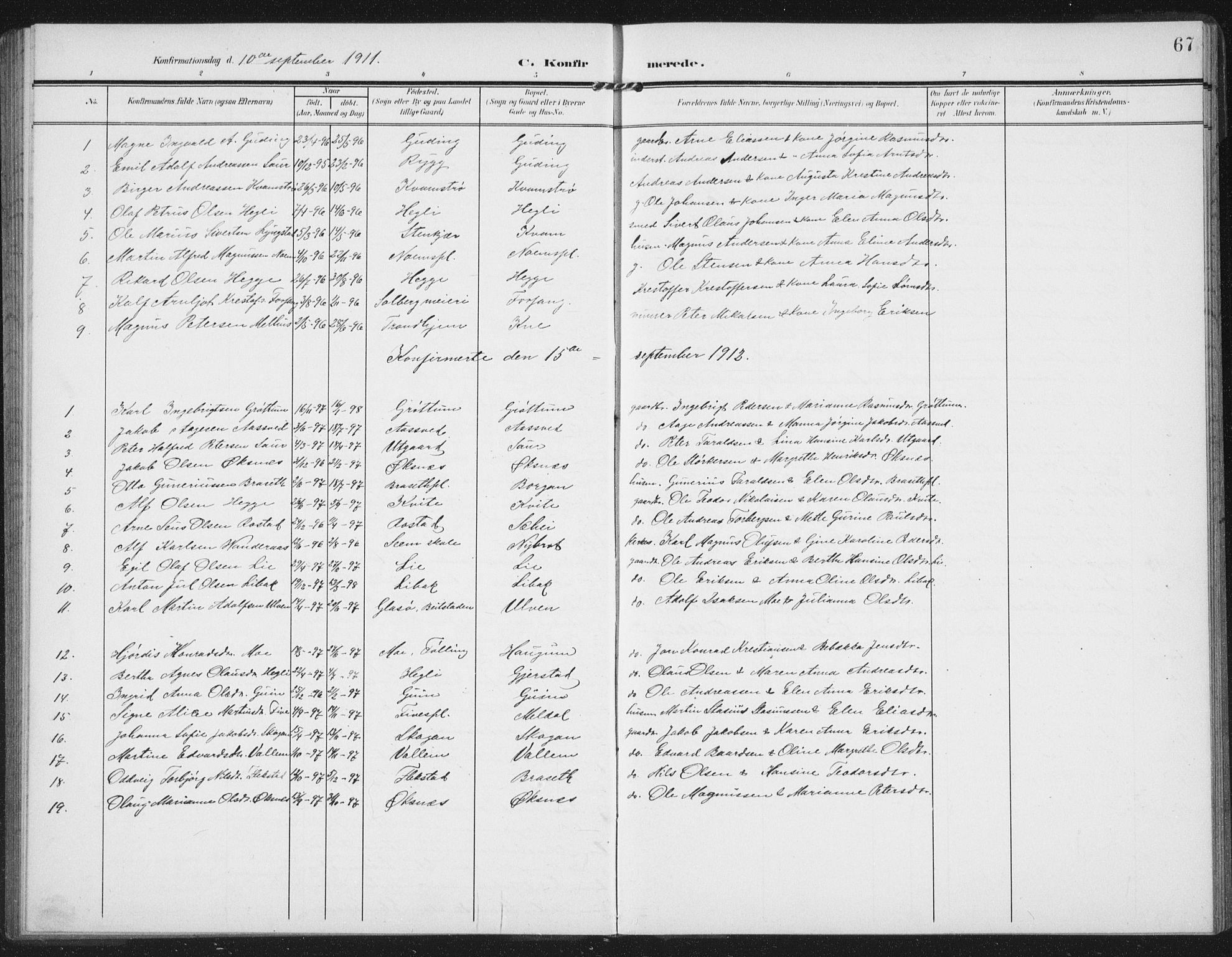 SAT, Ministerialprotokoller, klokkerbøker og fødselsregistre - Nord-Trøndelag, 747/L0460: Klokkerbok nr. 747C02, 1908-1939, s. 67