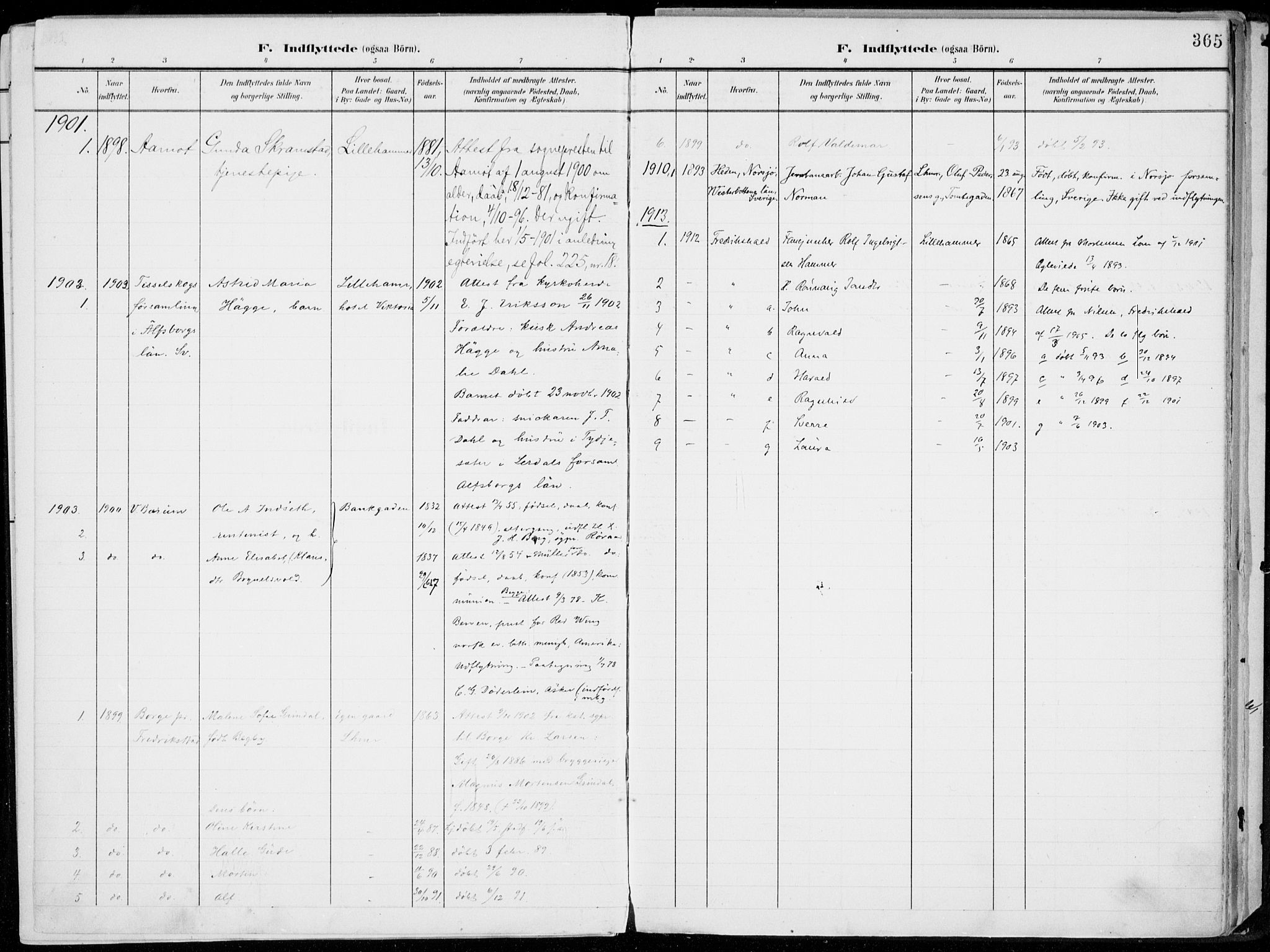 SAH, Lillehammer prestekontor, Ministerialbok nr. 1, 1901-1916, s. 365