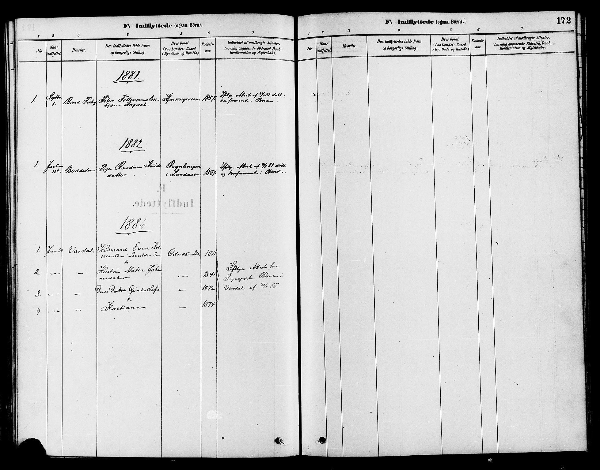 SAH, Søndre Land prestekontor, K/L0002: Ministerialbok nr. 2, 1878-1894, s. 172