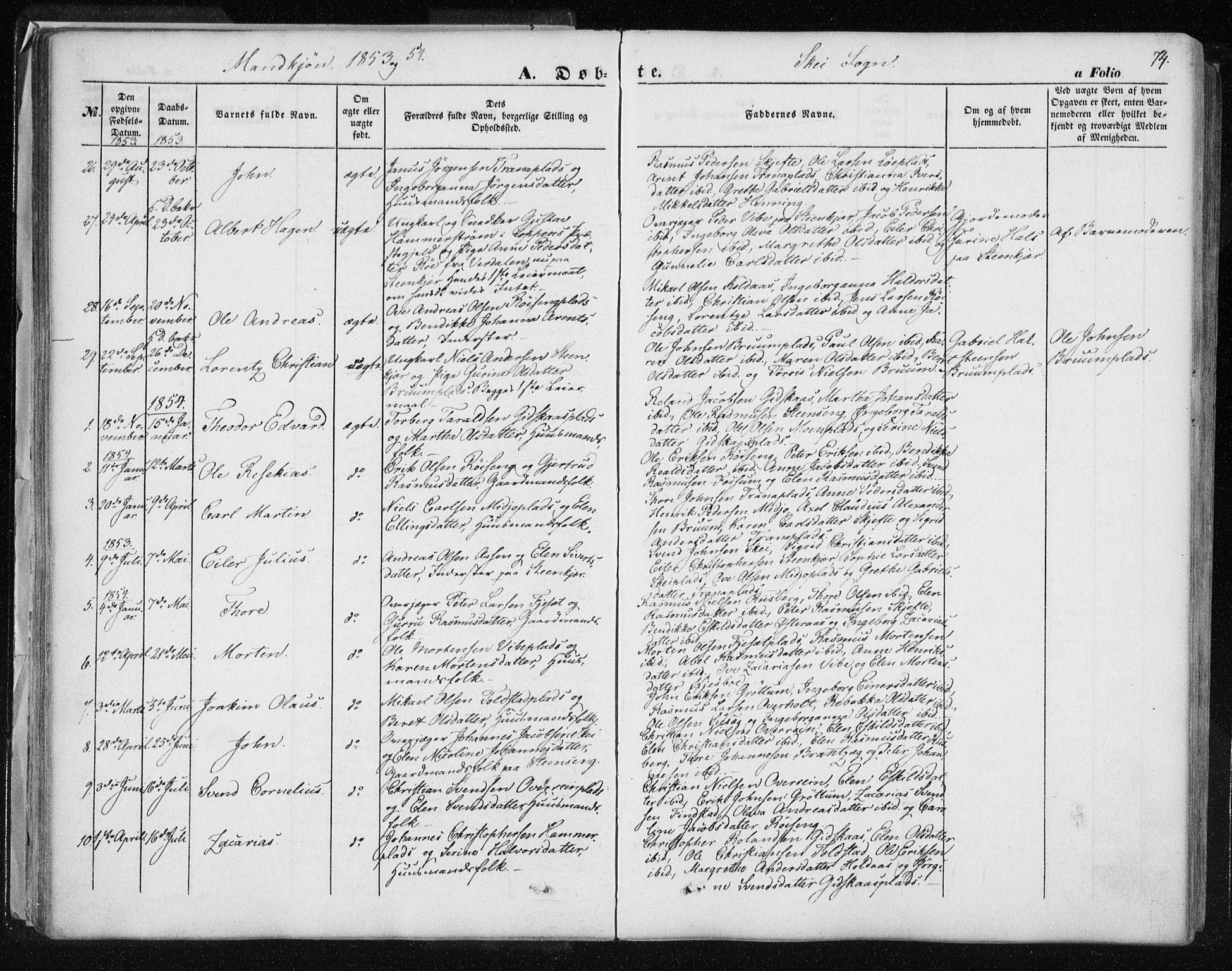 SAT, Ministerialprotokoller, klokkerbøker og fødselsregistre - Nord-Trøndelag, 735/L0342: Ministerialbok nr. 735A07 /2, 1849-1862, s. 74