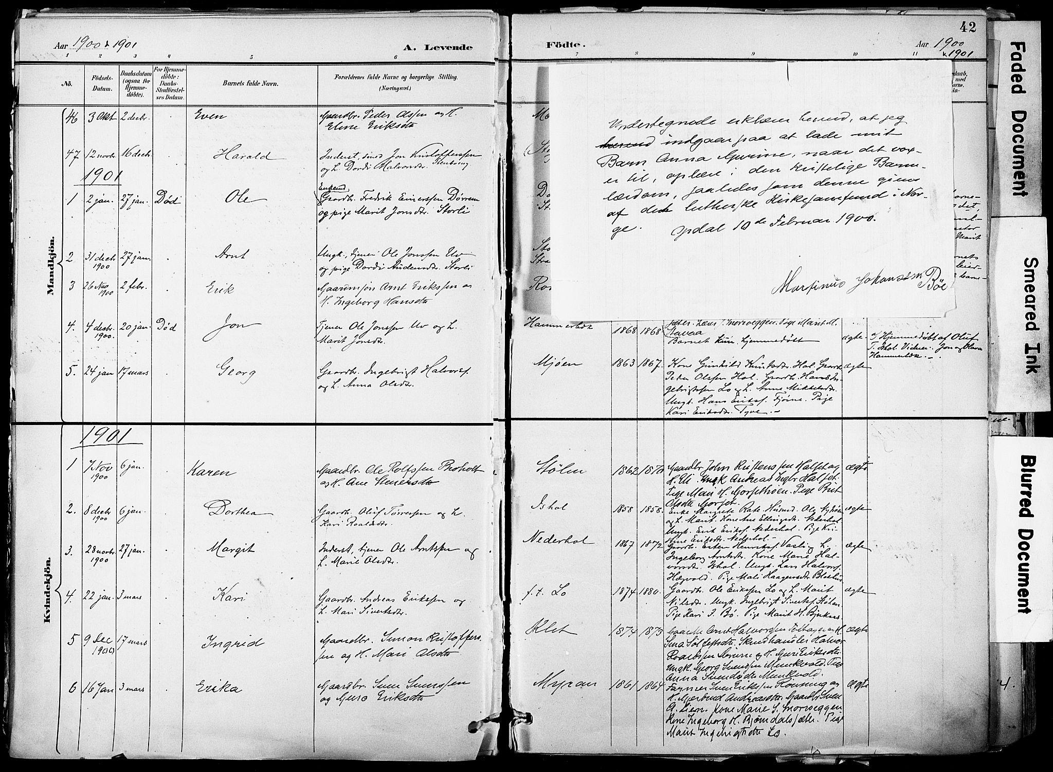 SAT, Ministerialprotokoller, klokkerbøker og fødselsregistre - Sør-Trøndelag, 678/L0902: Ministerialbok nr. 678A11, 1895-1911, s. 42