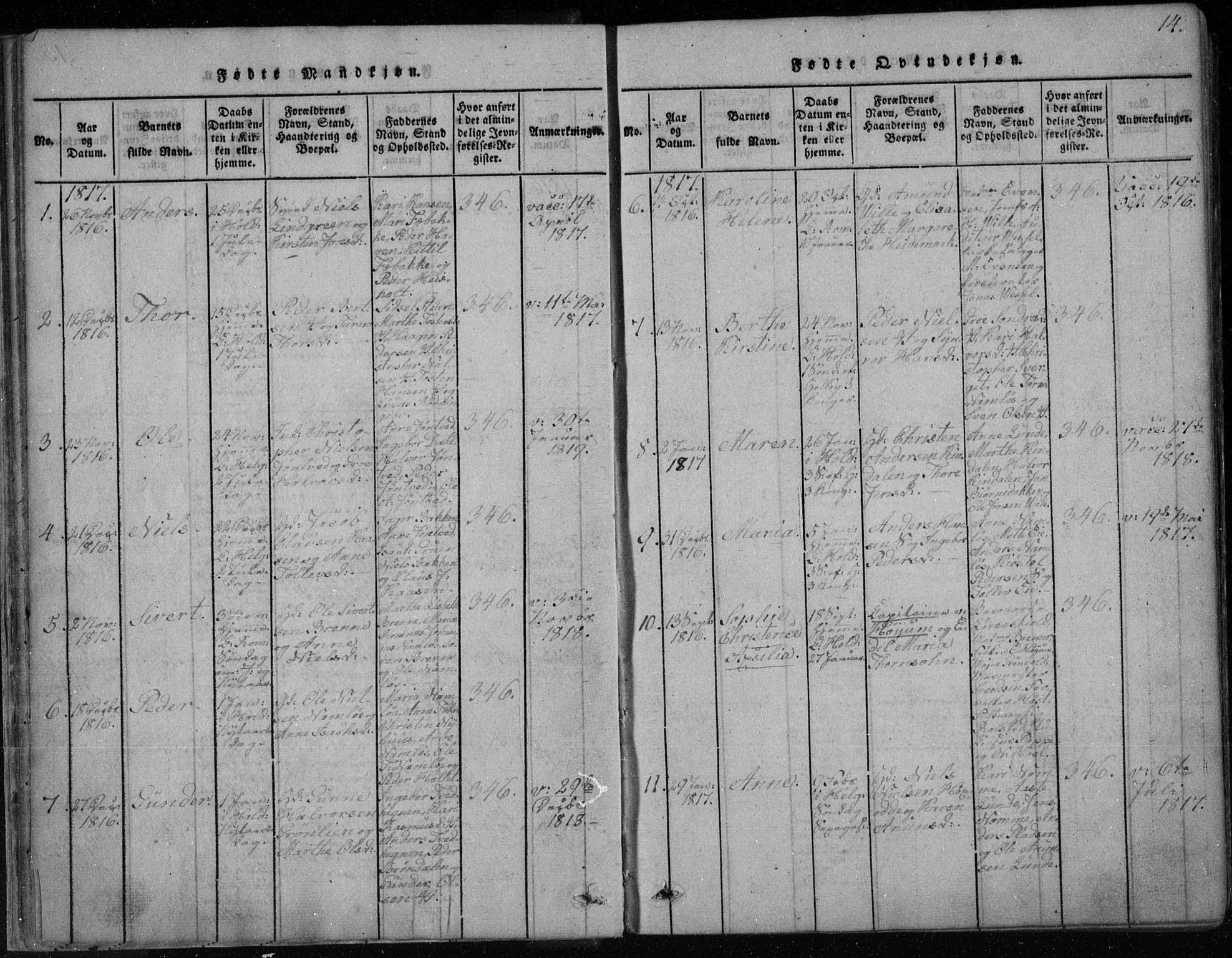 SAKO, Holla kirkebøker, F/Fa/L0003: Ministerialbok nr. 3, 1815-1830, s. 14