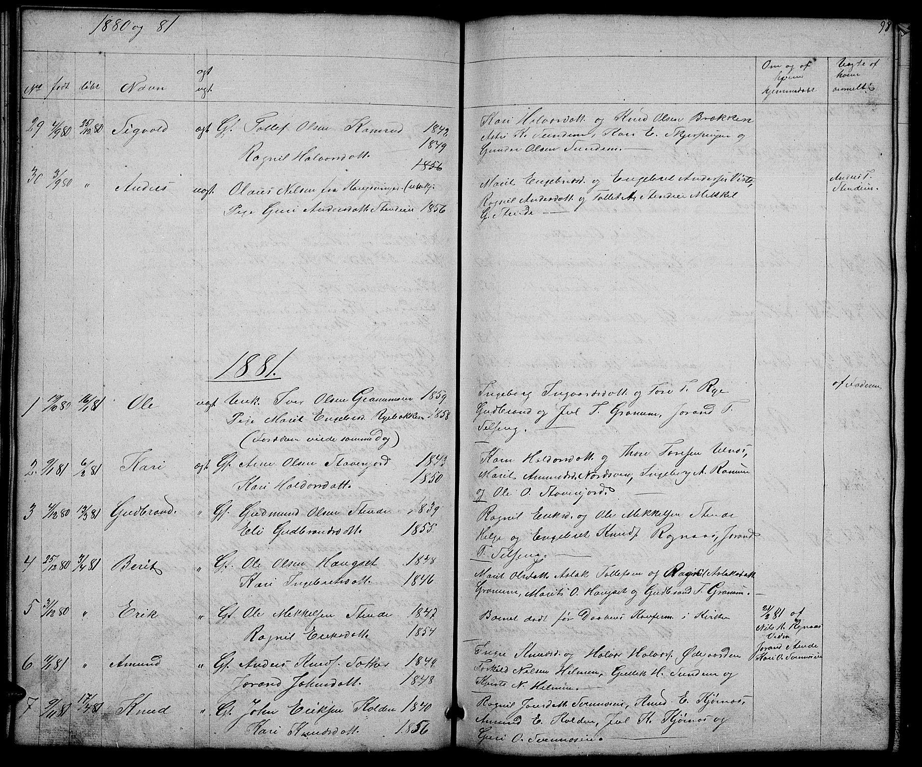 SAH, Nord-Aurdal prestekontor, Klokkerbok nr. 4, 1842-1882, s. 98