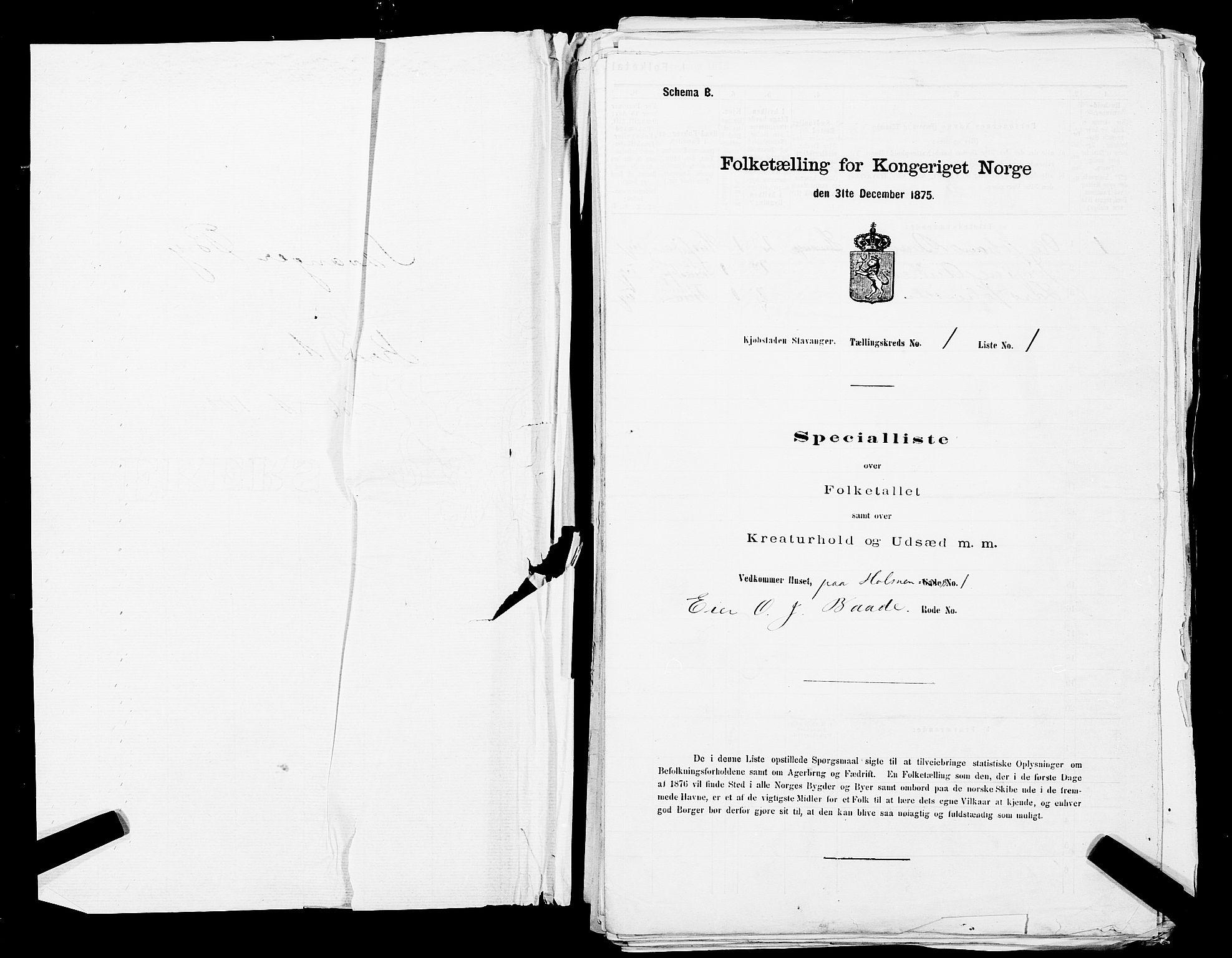 SAST, Folketelling 1875 for 1103 Stavanger kjøpstad, 1875, s. 1