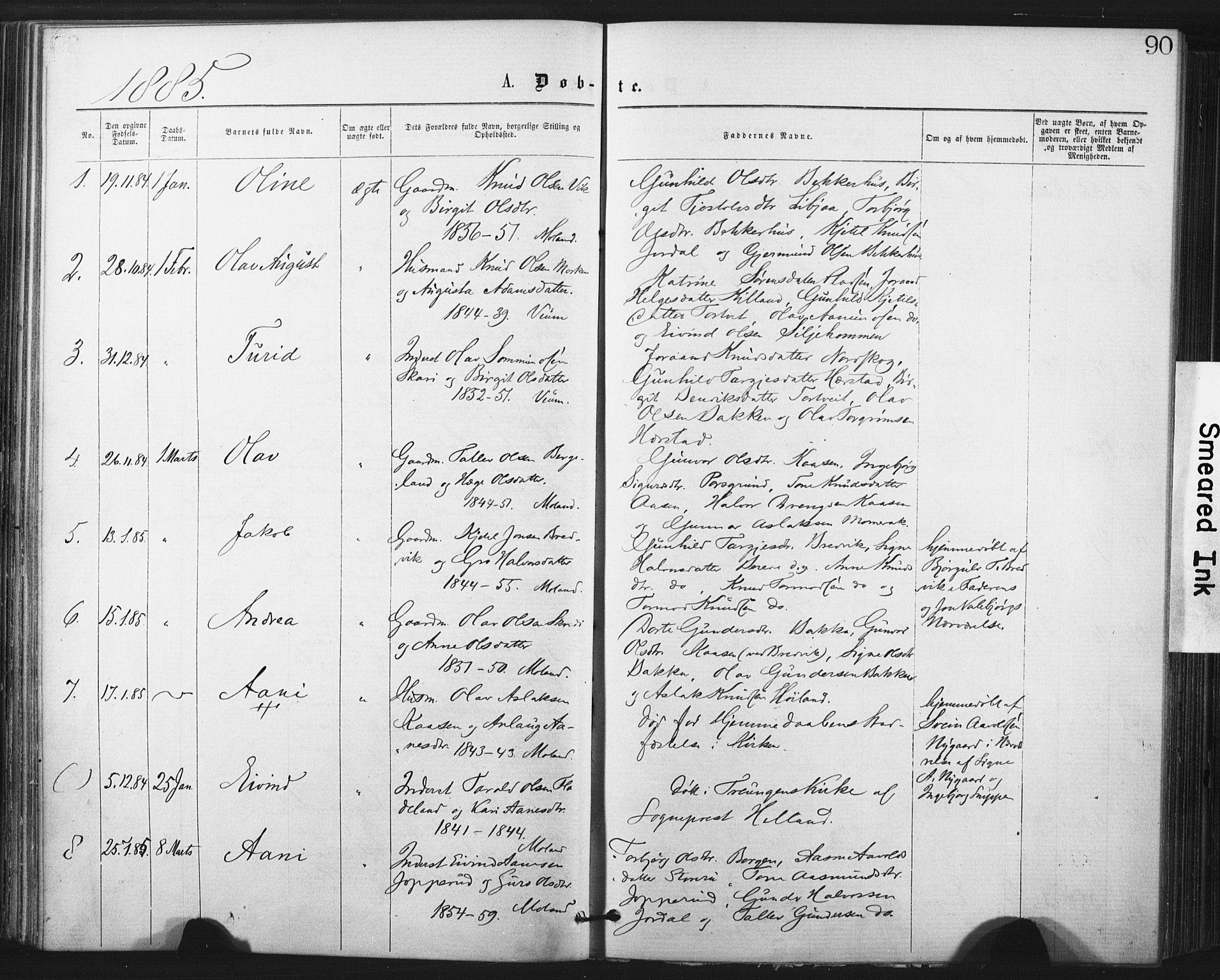 SAKO, Fyresdal kirkebøker, F/Fa/L0006: Ministerialbok nr. I 6, 1872-1886, s. 90