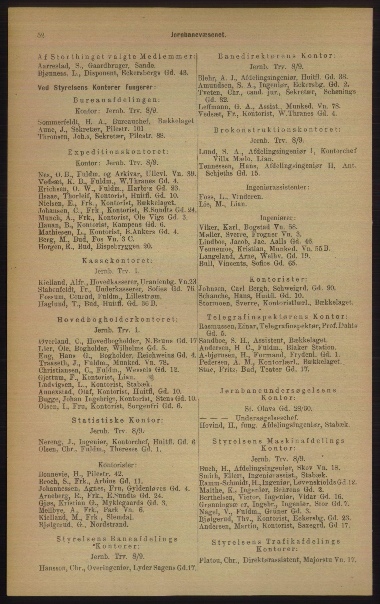 RA, Kristiania adressebok (publikasjon)*, 1906, s. 52