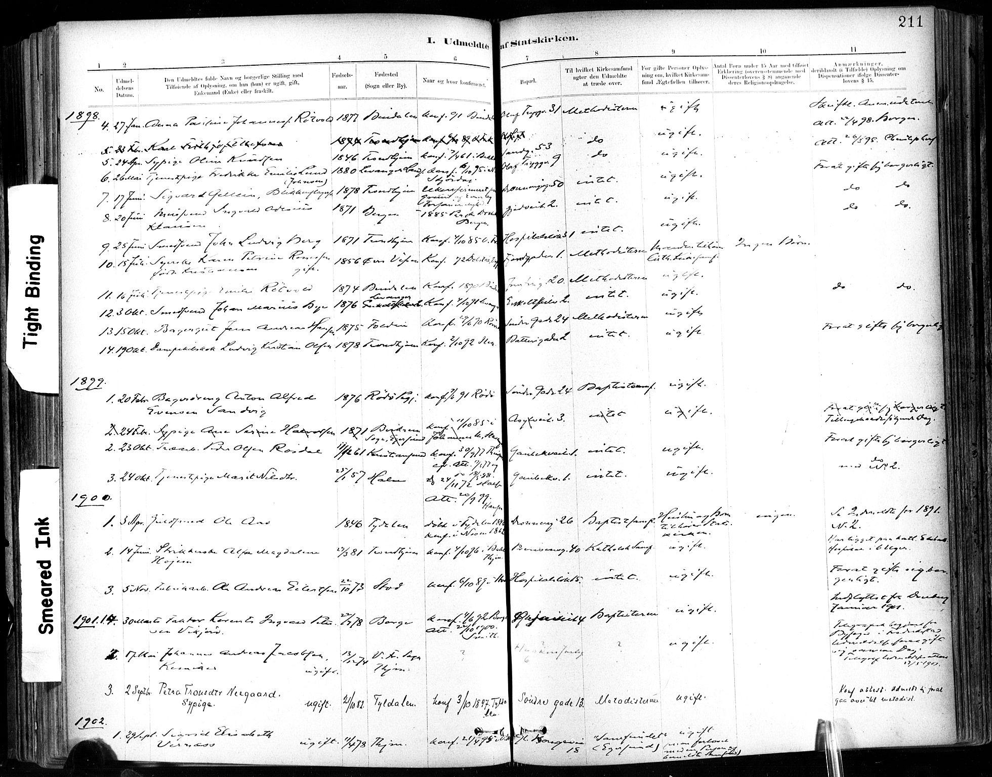 SAT, Ministerialprotokoller, klokkerbøker og fødselsregistre - Sør-Trøndelag, 602/L0120: Ministerialbok nr. 602A18, 1880-1913, s. 211