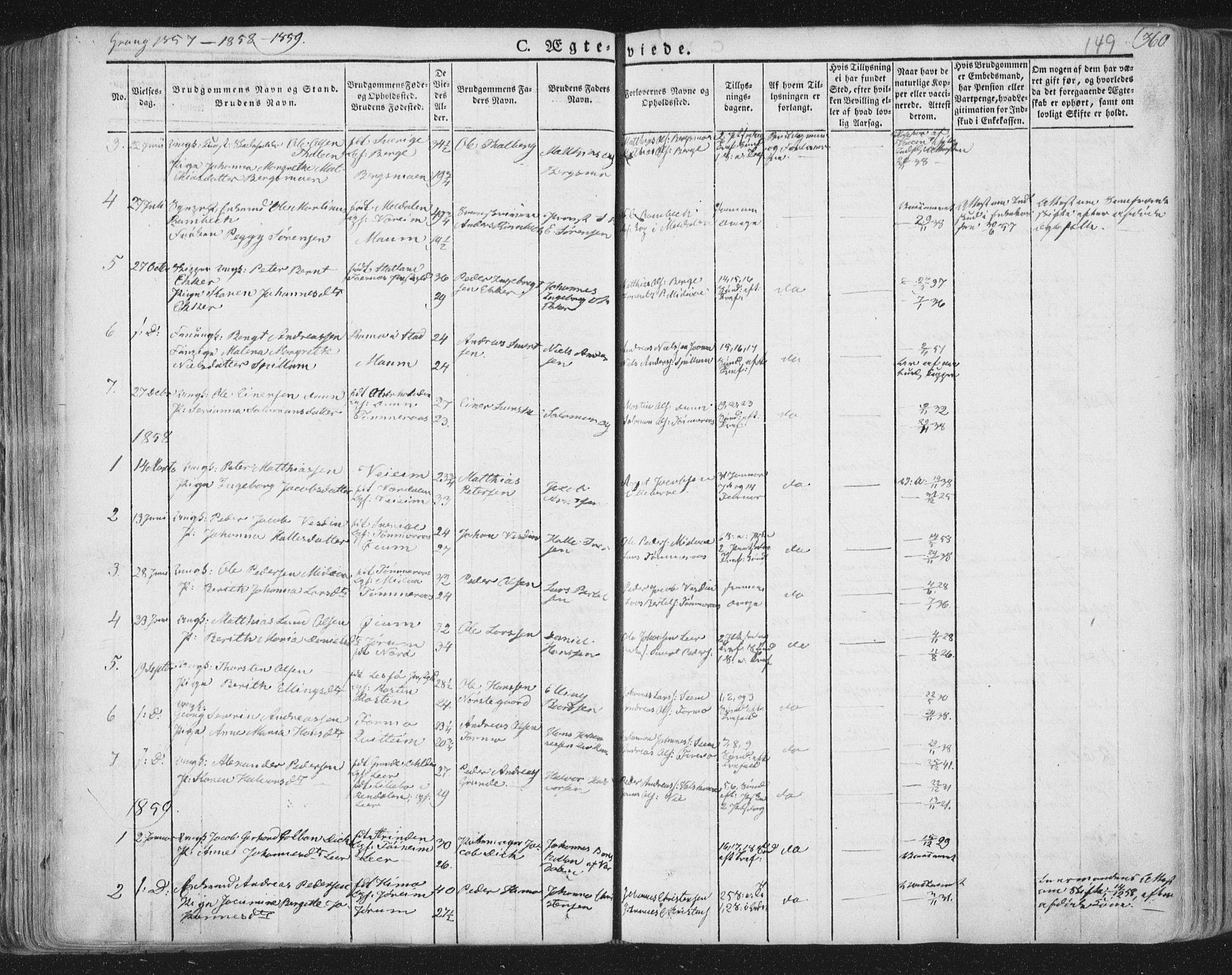 SAT, Ministerialprotokoller, klokkerbøker og fødselsregistre - Nord-Trøndelag, 758/L0513: Ministerialbok nr. 758A02 /1, 1839-1868, s. 149