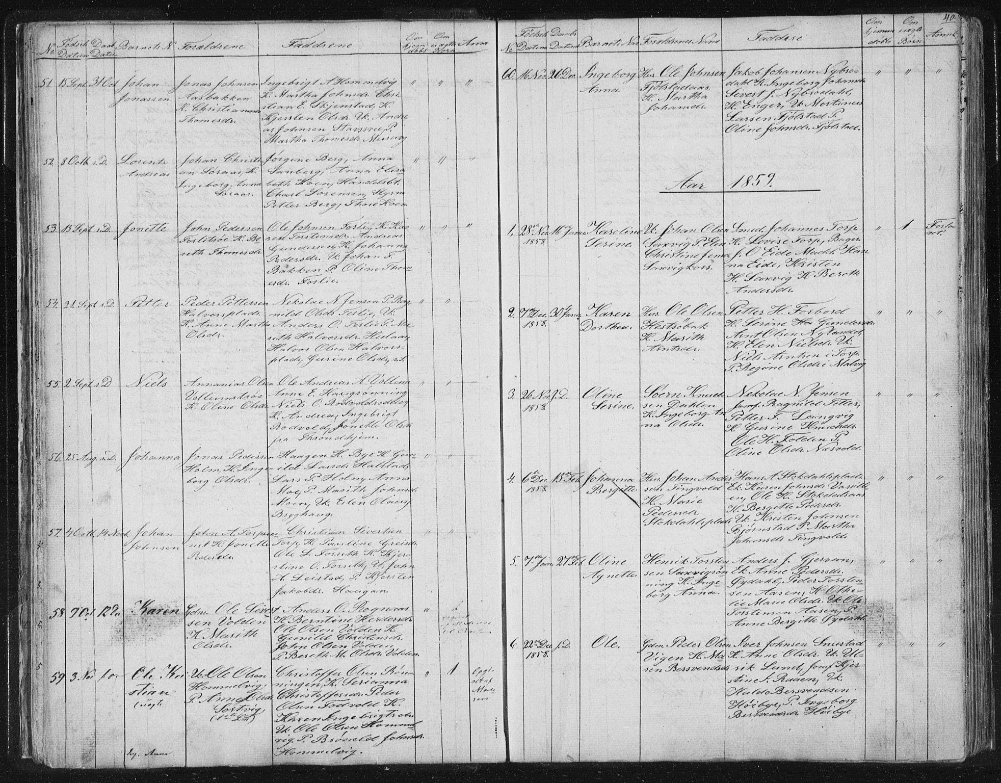 SAT, Ministerialprotokoller, klokkerbøker og fødselsregistre - Sør-Trøndelag, 616/L0406: Ministerialbok nr. 616A03, 1843-1879, s. 40