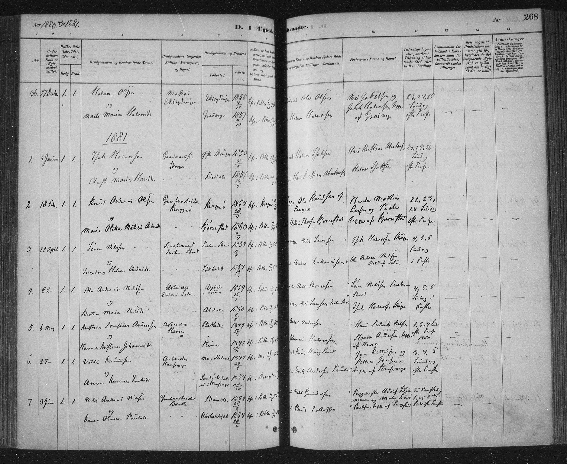 SAKO, Bamble kirkebøker, F/Fa/L0007: Ministerialbok nr. I 7, 1878-1888, s. 268