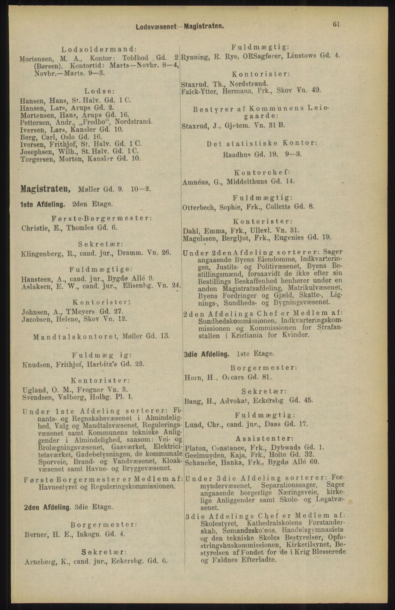 RA, Kristiania adressebok (publikasjon)*, 1904, s. 61