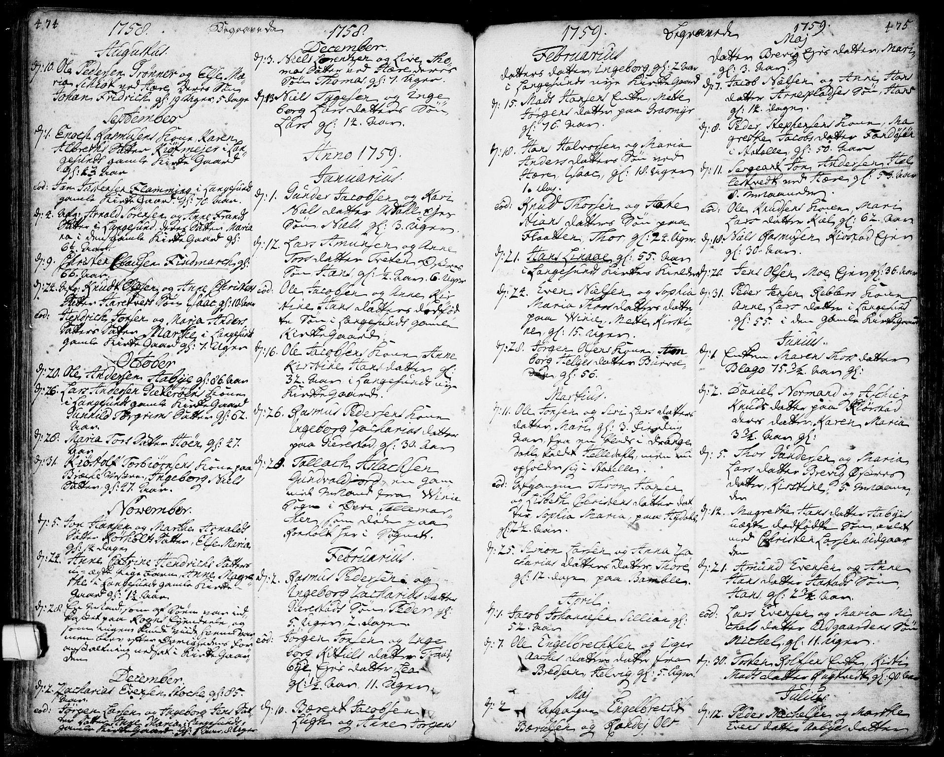 SAKO, Bamble kirkebøker, F/Fa/L0001: Ministerialbok nr. I 1, 1702-1774, s. 474-475
