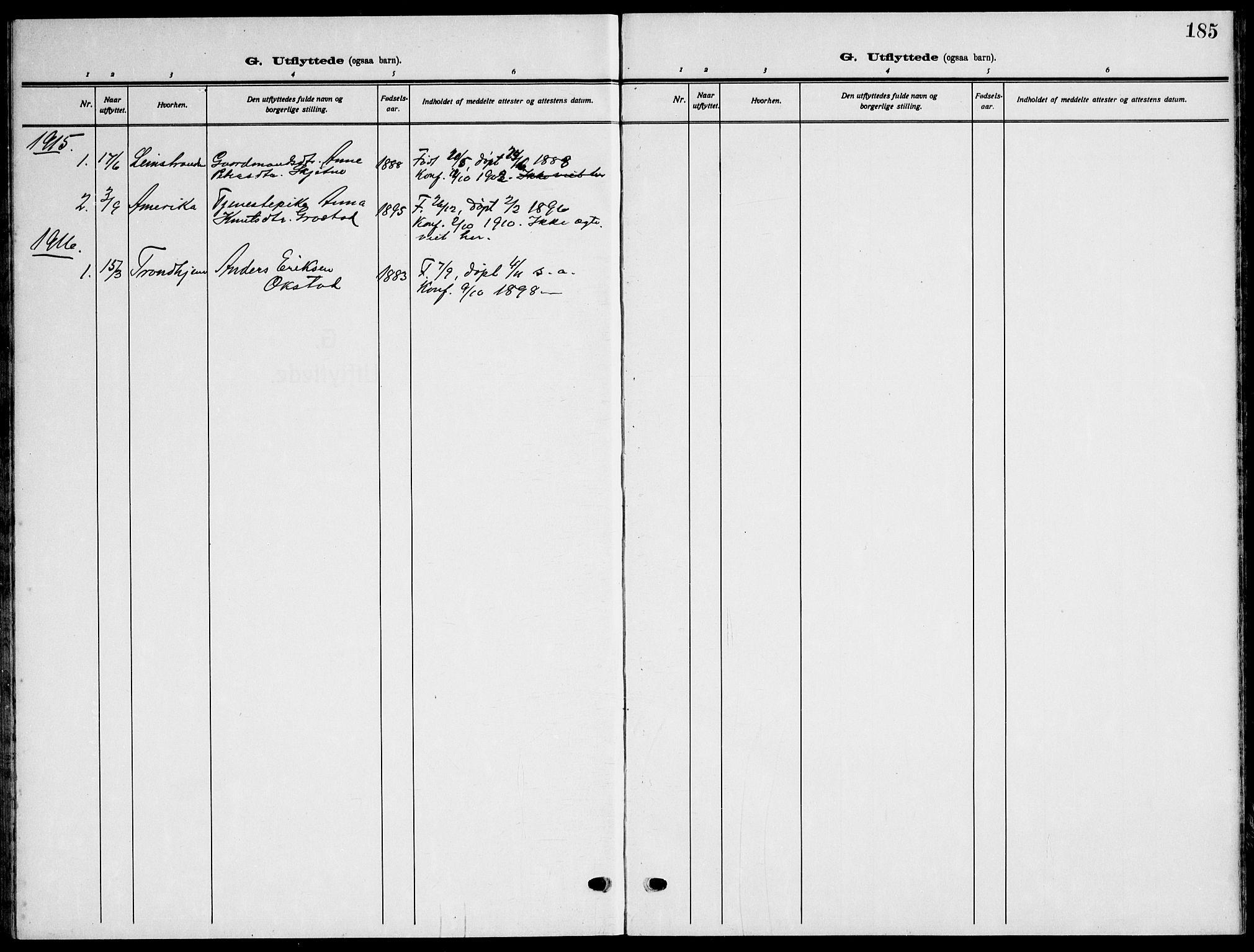SAT, Ministerialprotokoller, klokkerbøker og fødselsregistre - Sør-Trøndelag, 621/L0462: Klokkerbok nr. 621C05, 1915-1945, s. 185