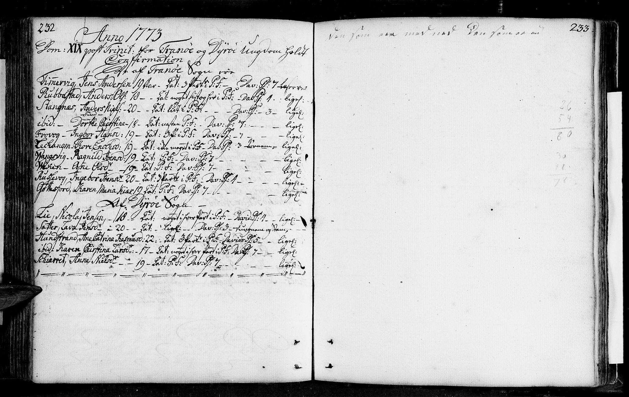 SATØ, Tranøy sokneprestkontor, I/Ia/Iaa/L0001kirke: Ministerialbok nr. 1, 1757-1773, s. 232-233