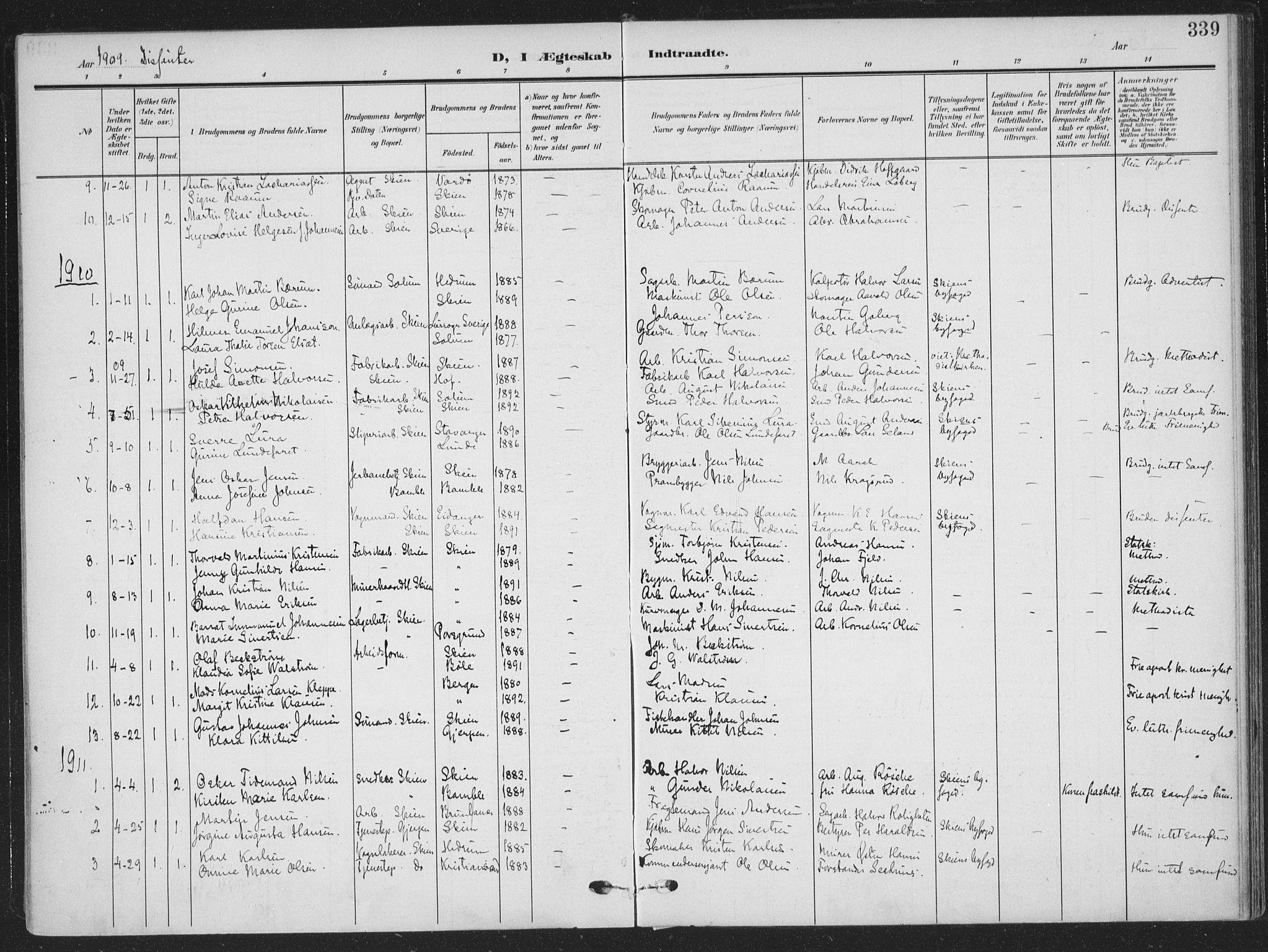 SAKO, Skien kirkebøker, F/Fa/L0012: Ministerialbok nr. 12, 1908-1914, s. 339