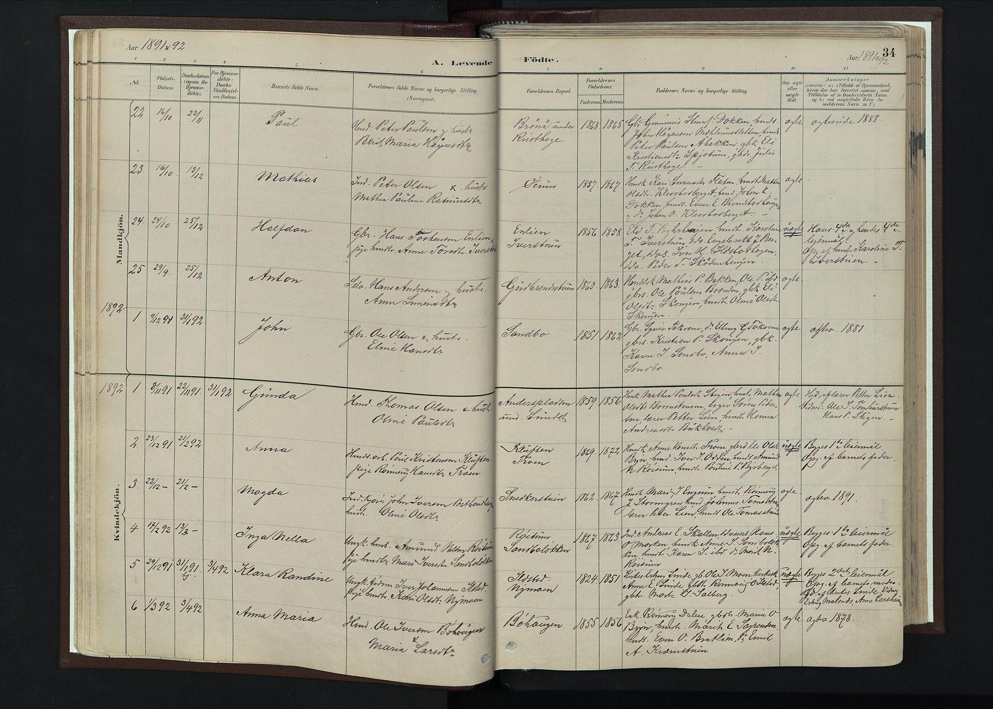SAH, Nord-Fron prestekontor, Ministerialbok nr. 4, 1884-1914, s. 34