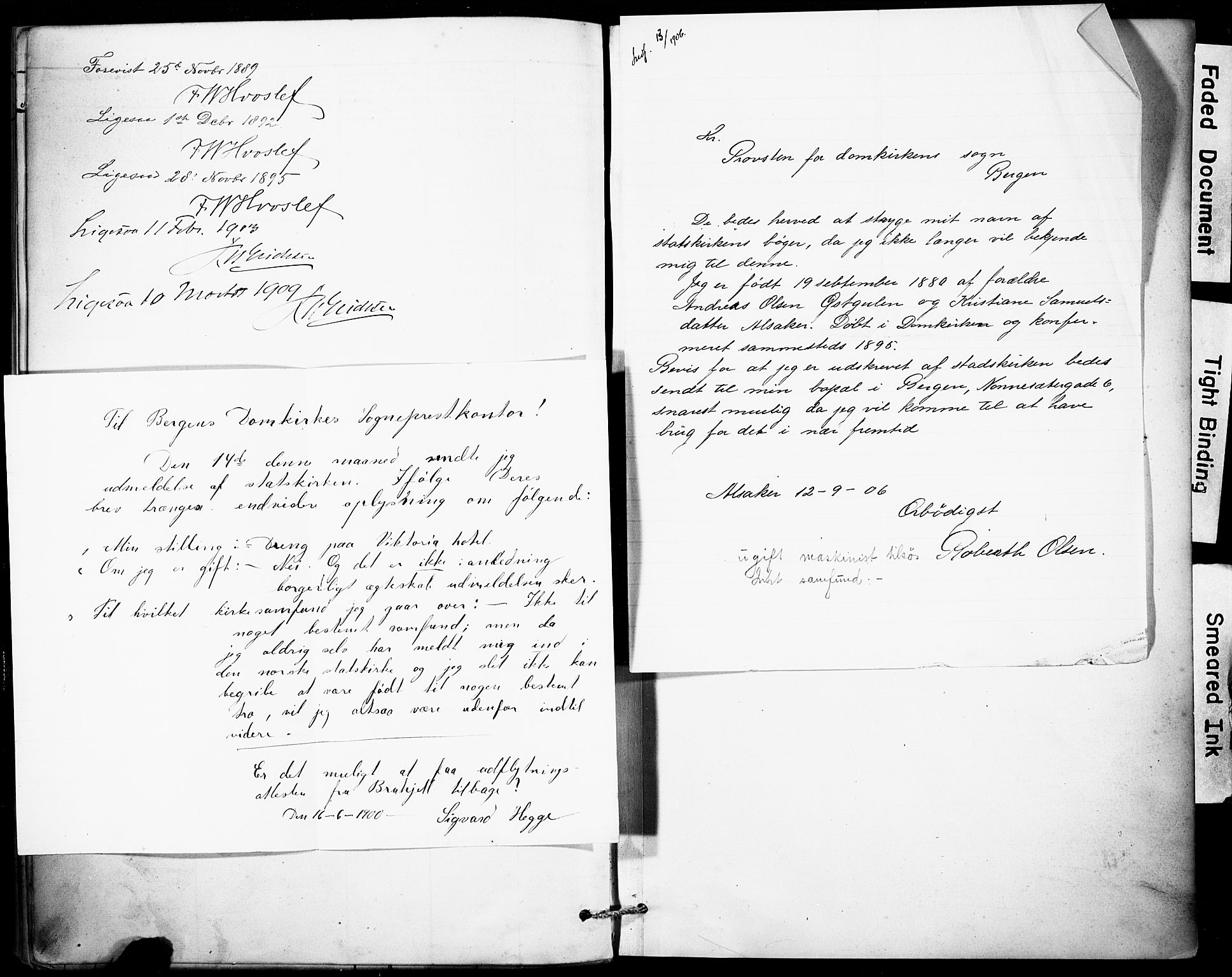 SAB, Domkirken Sokneprestembete, H/Haa: Ministerialbok nr. I 1, 1887-1908