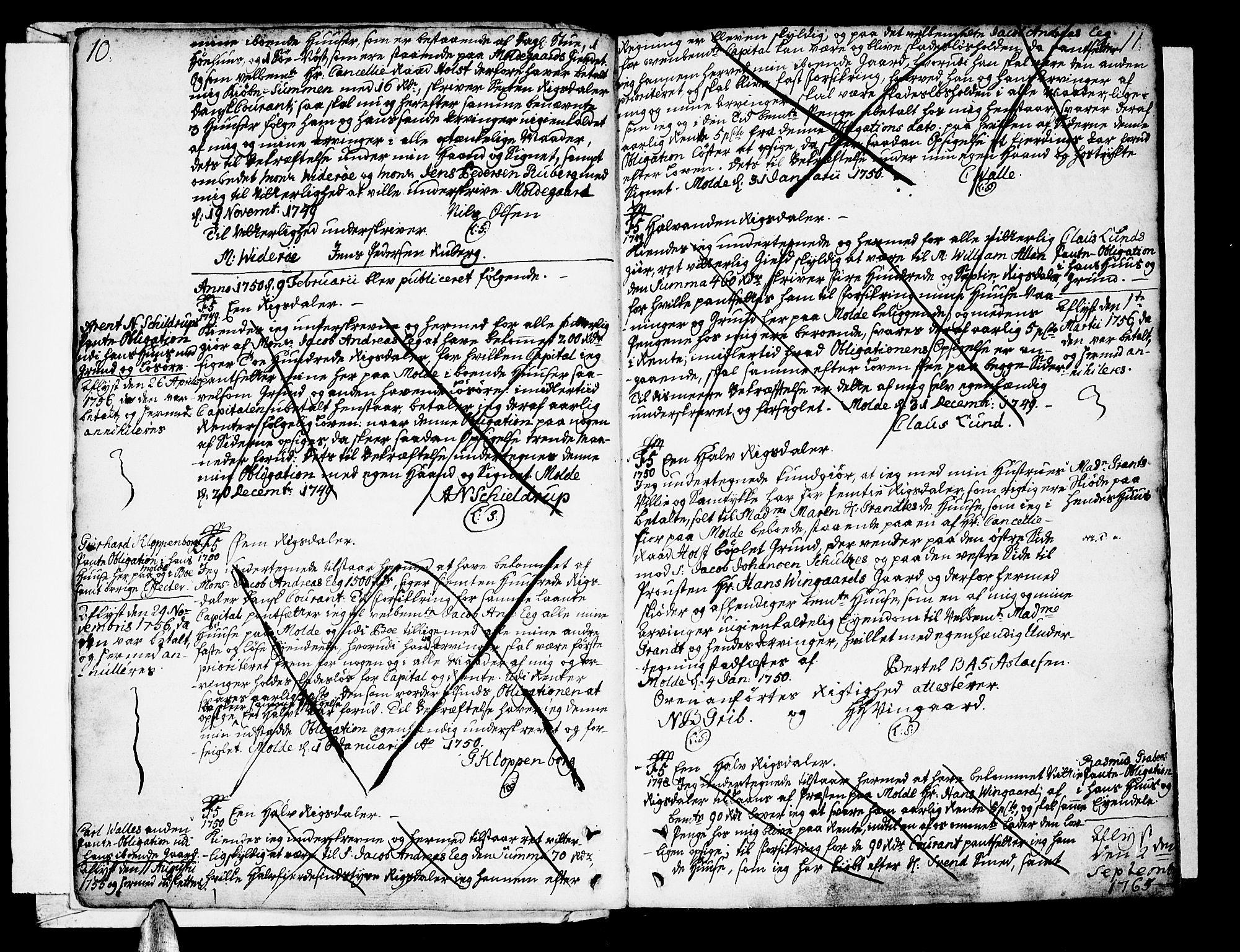 SAT, Molde byfogd, 2/2C/L0001: Pantebok nr. 1, 1748-1823, s. 10-11