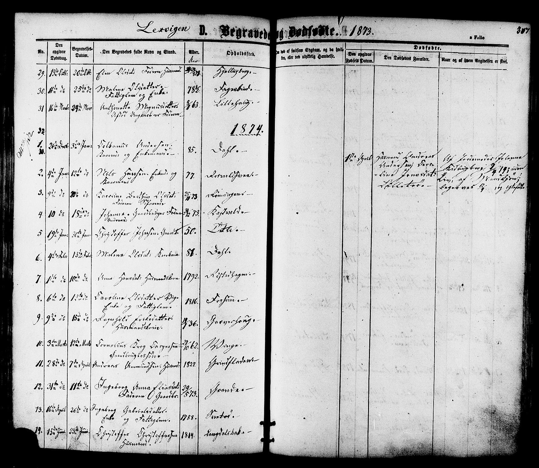 SAT, Ministerialprotokoller, klokkerbøker og fødselsregistre - Nord-Trøndelag, 701/L0009: Ministerialbok nr. 701A09 /1, 1864-1882, s. 307