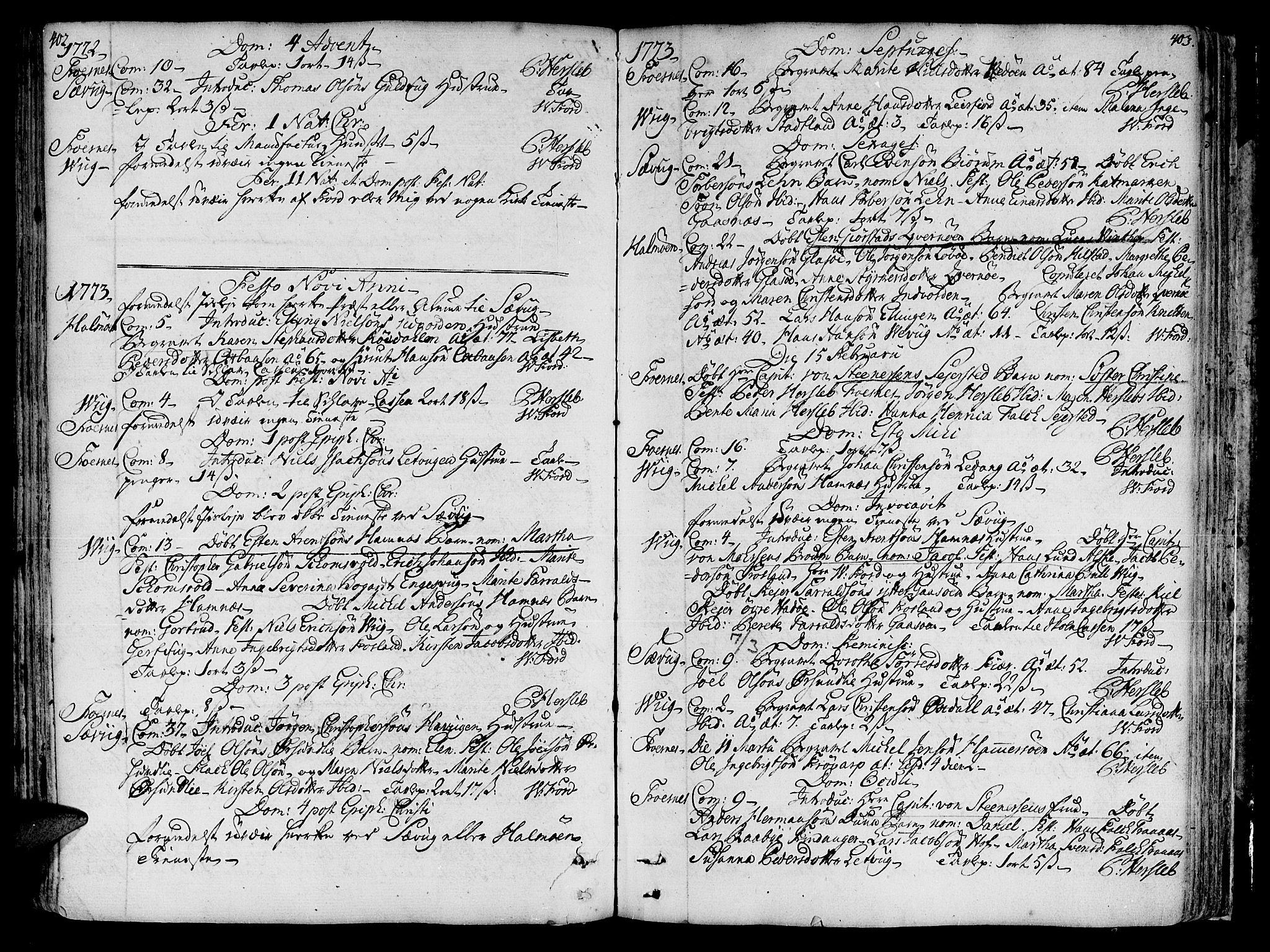 SAT, Ministerialprotokoller, klokkerbøker og fødselsregistre - Nord-Trøndelag, 773/L0607: Ministerialbok nr. 773A01, 1751-1783, s. 402-403