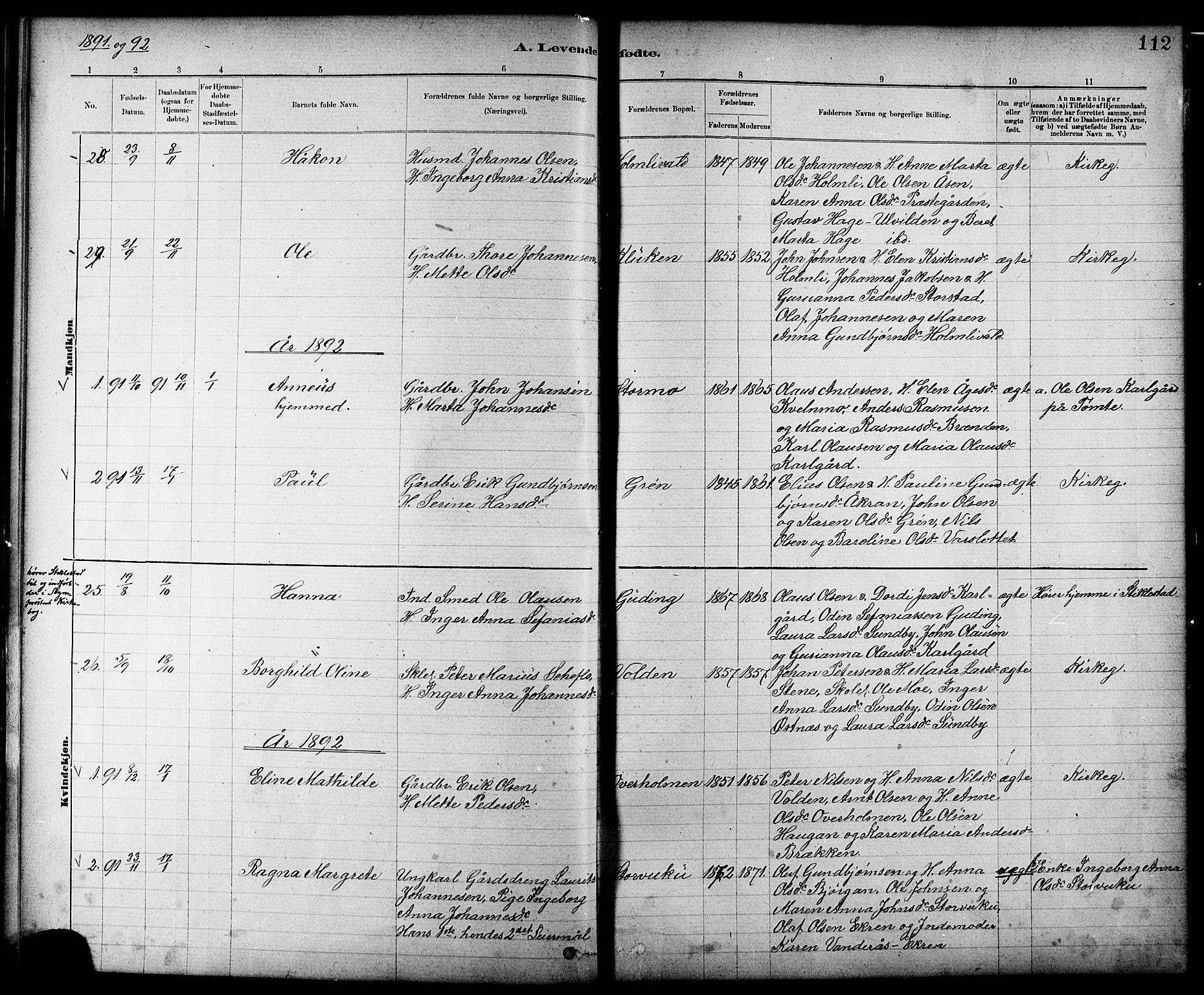 SAT, Ministerialprotokoller, klokkerbøker og fødselsregistre - Nord-Trøndelag, 724/L0267: Klokkerbok nr. 724C03, 1879-1898, s. 112