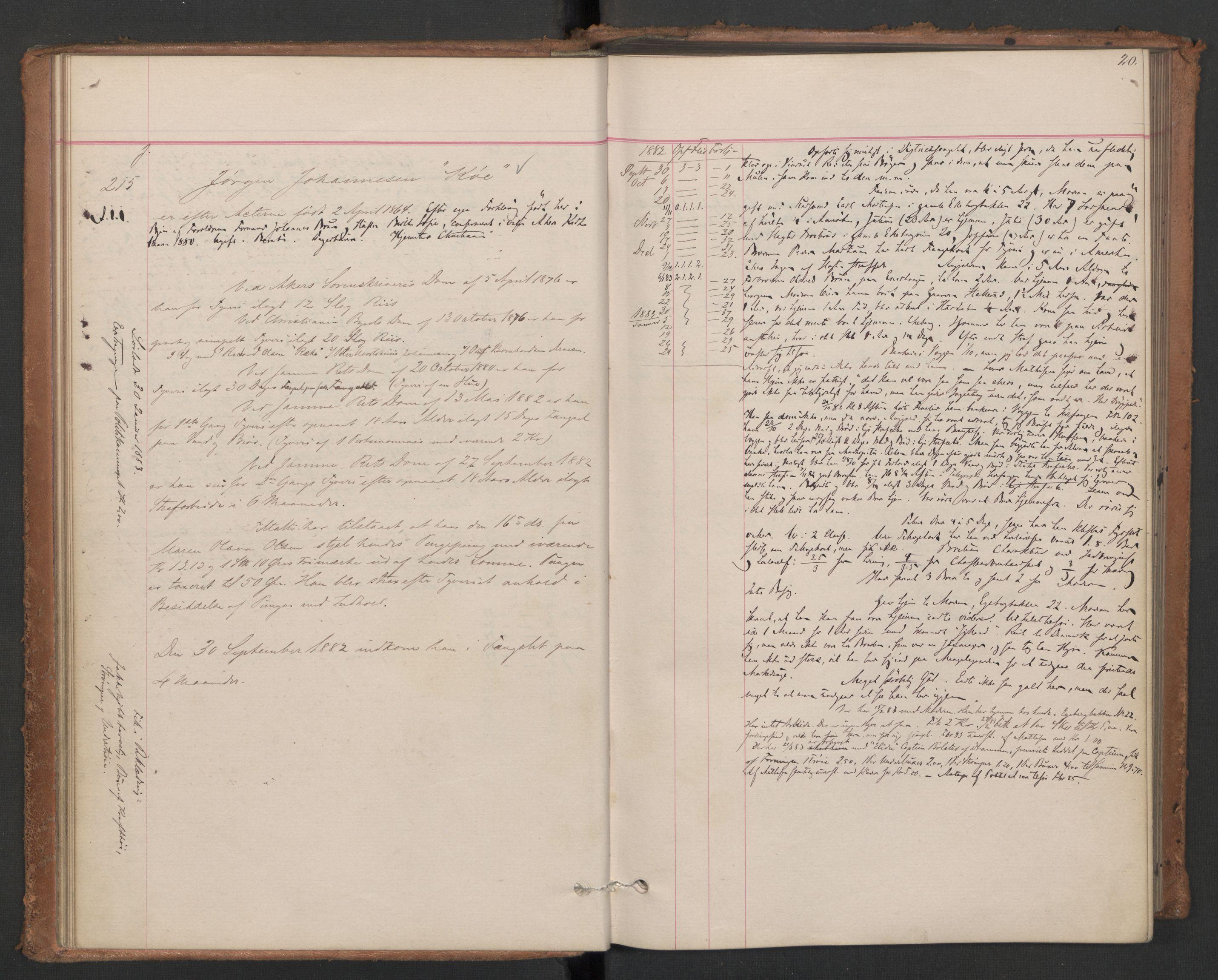 RA, Botsfengslet, D/Db/Dbb/L0021: 196g - 484g, 1882-1884, s. 20