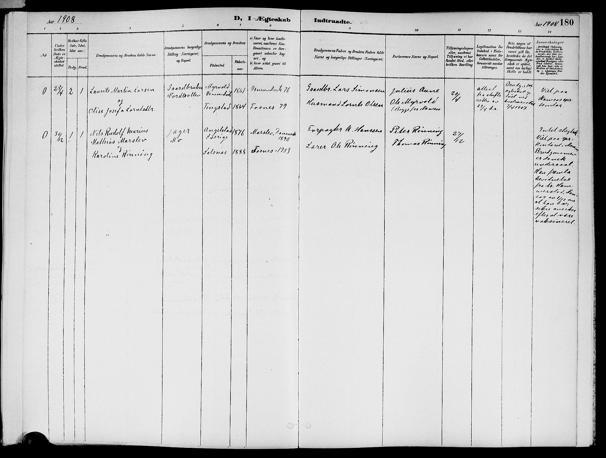 SAT, Ministerialprotokoller, klokkerbøker og fødselsregistre - Nord-Trøndelag, 773/L0617: Ministerialbok nr. 773A08, 1887-1910, s. 180