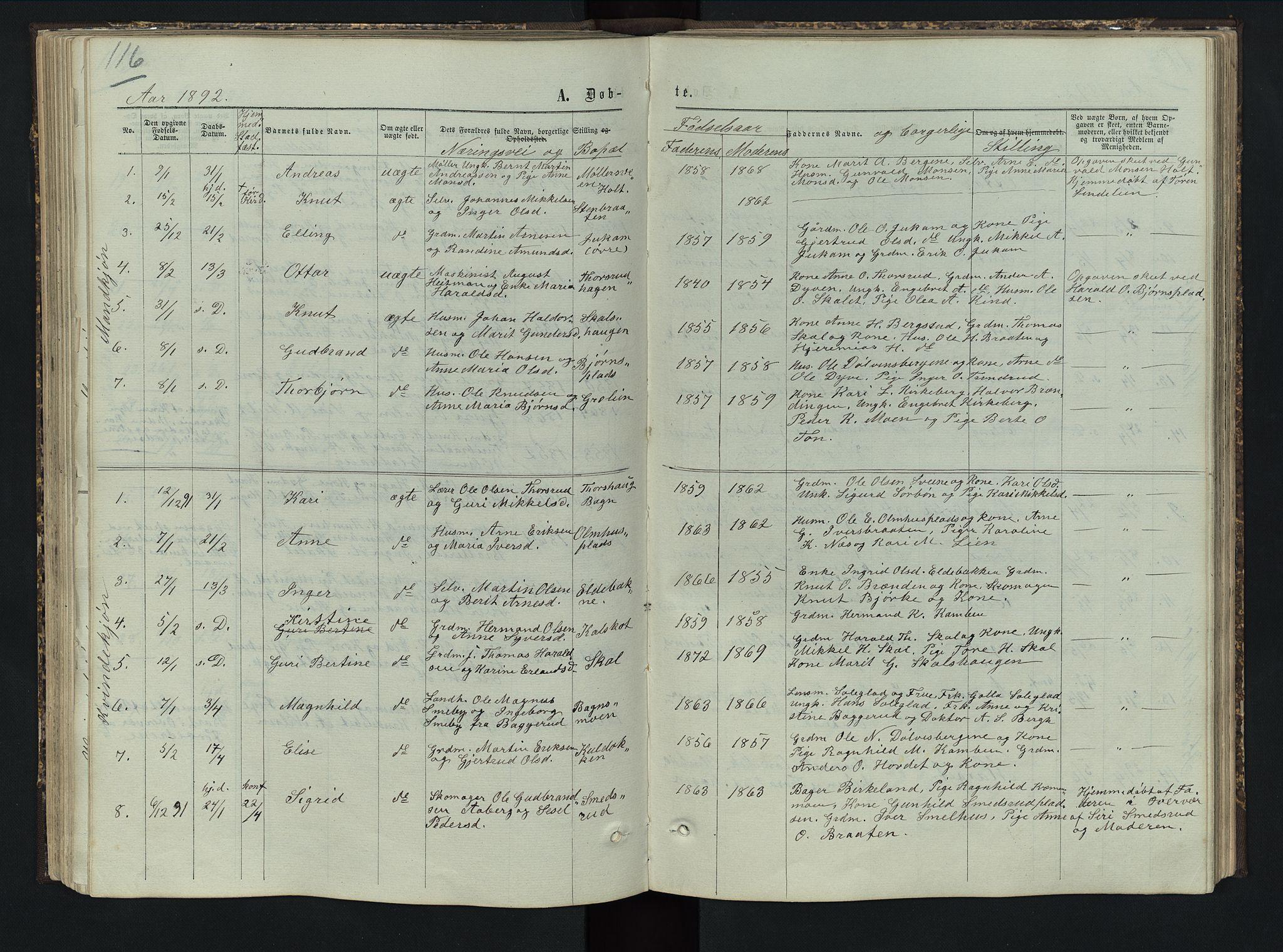 SAH, Sør-Aurdal prestekontor, Klokkerbok nr. 5, 1866-1893, s. 116