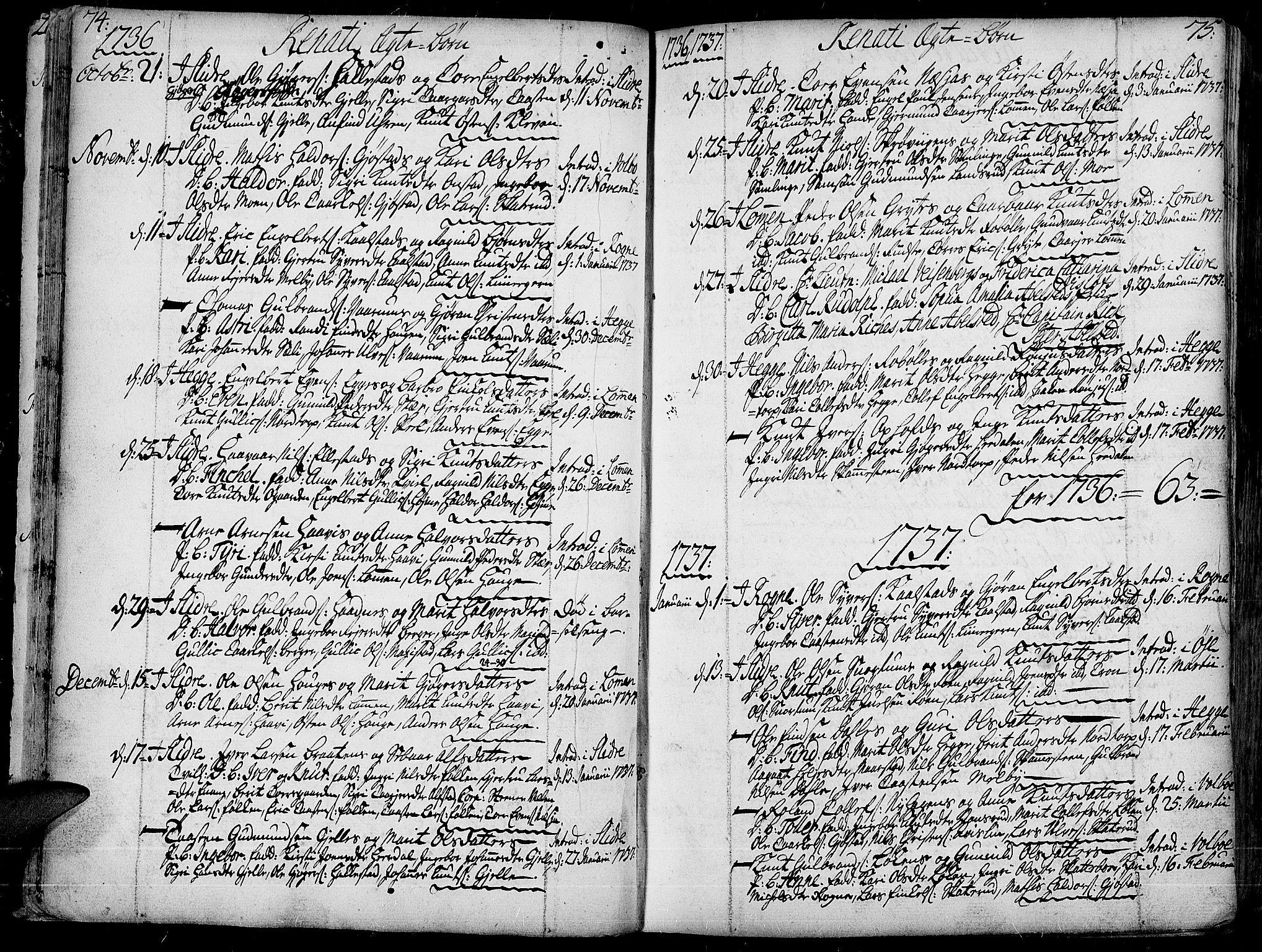 SAH, Slidre prestekontor, Ministerialbok nr. 1, 1724-1814, s. 74-75