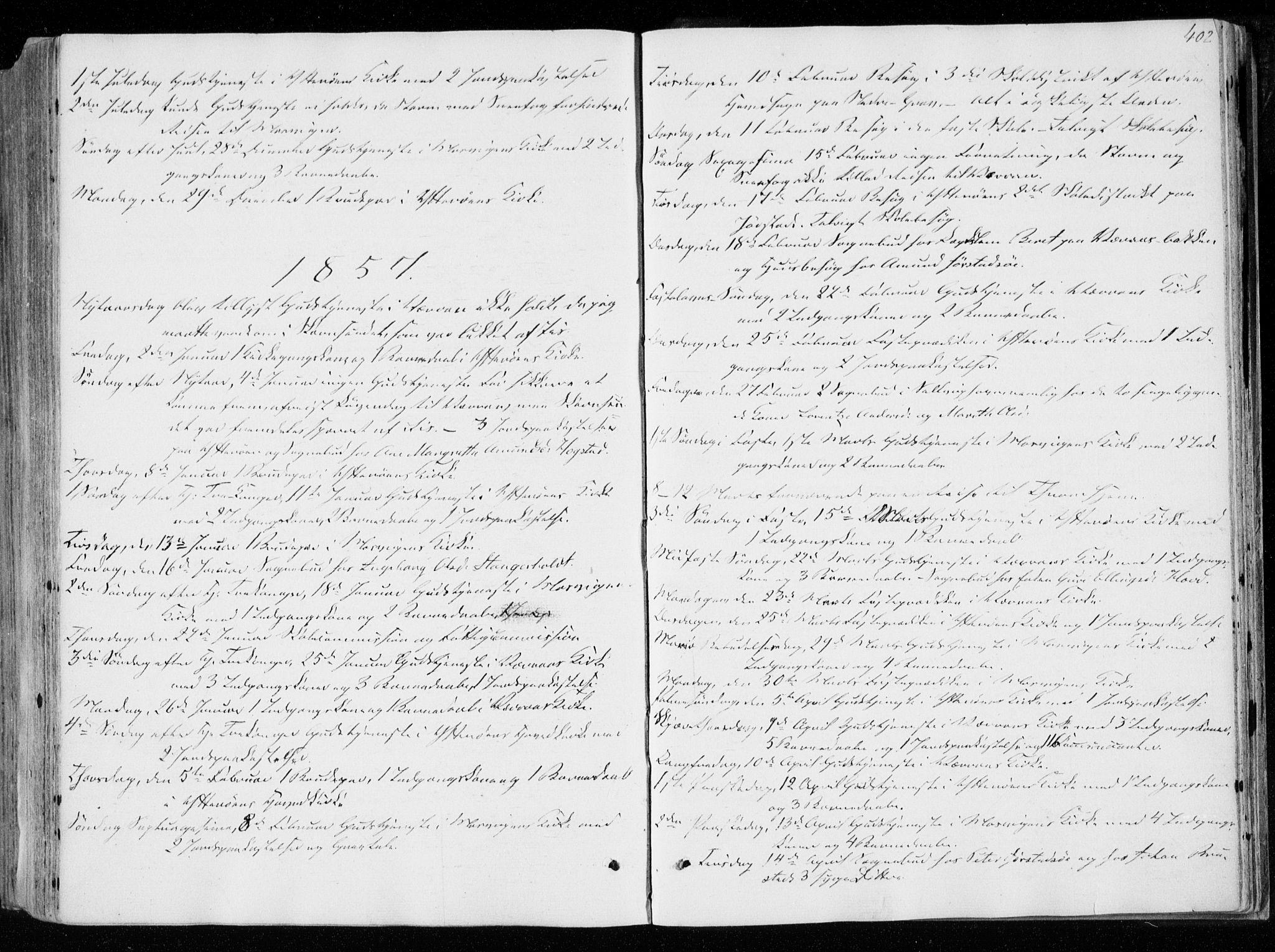 SAT, Ministerialprotokoller, klokkerbøker og fødselsregistre - Nord-Trøndelag, 722/L0218: Ministerialbok nr. 722A05, 1843-1868, s. 402