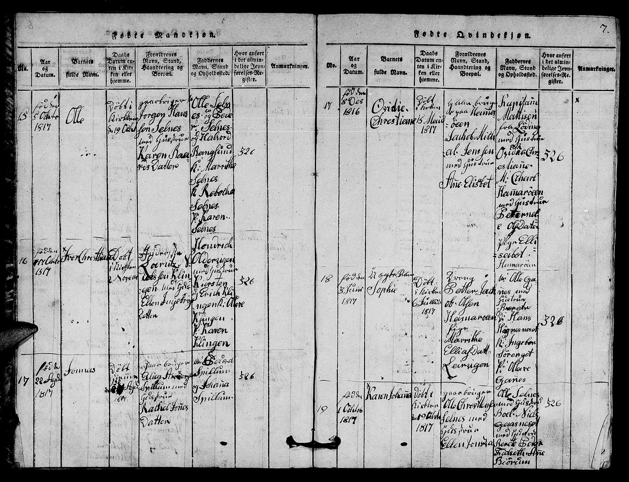 SAT, Ministerialprotokoller, klokkerbøker og fødselsregistre - Nord-Trøndelag, 770/L0590: Klokkerbok nr. 770C01, 1815-1824, s. 7