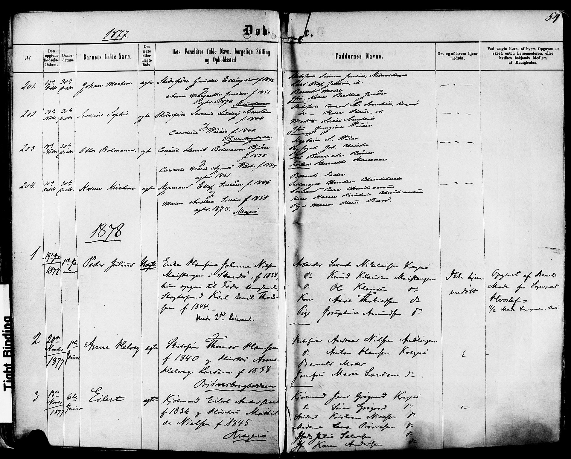 SAKO, Kragerø kirkebøker, F/Fa/L0011: Ministerialbok nr. 11, 1875-1886, s. 54