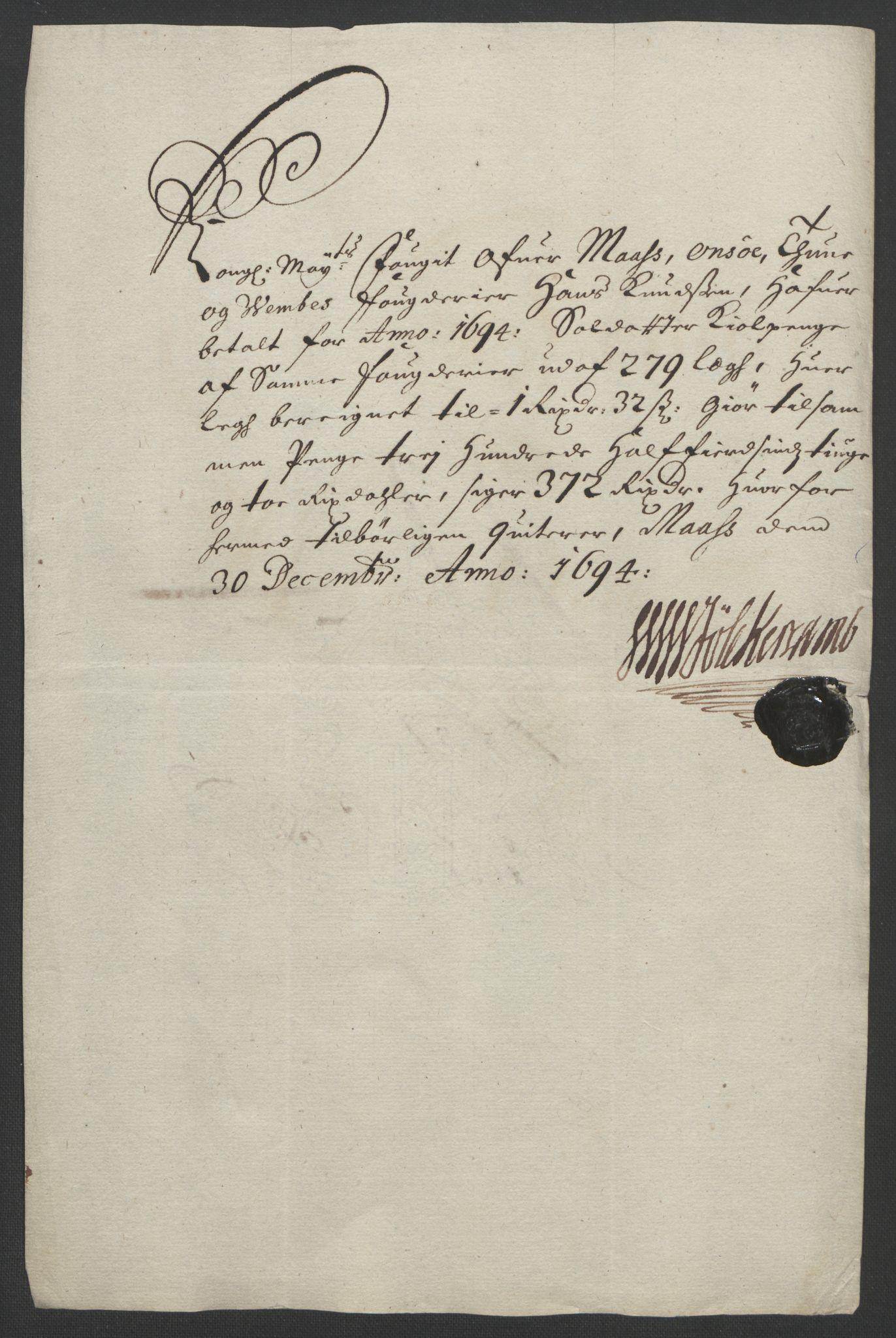 RA, Rentekammeret inntil 1814, Reviderte regnskaper, Fogderegnskap, R03/L0121: Fogderegnskap Onsøy, Tune, Veme og Åbygge fogderi, 1694, s. 267