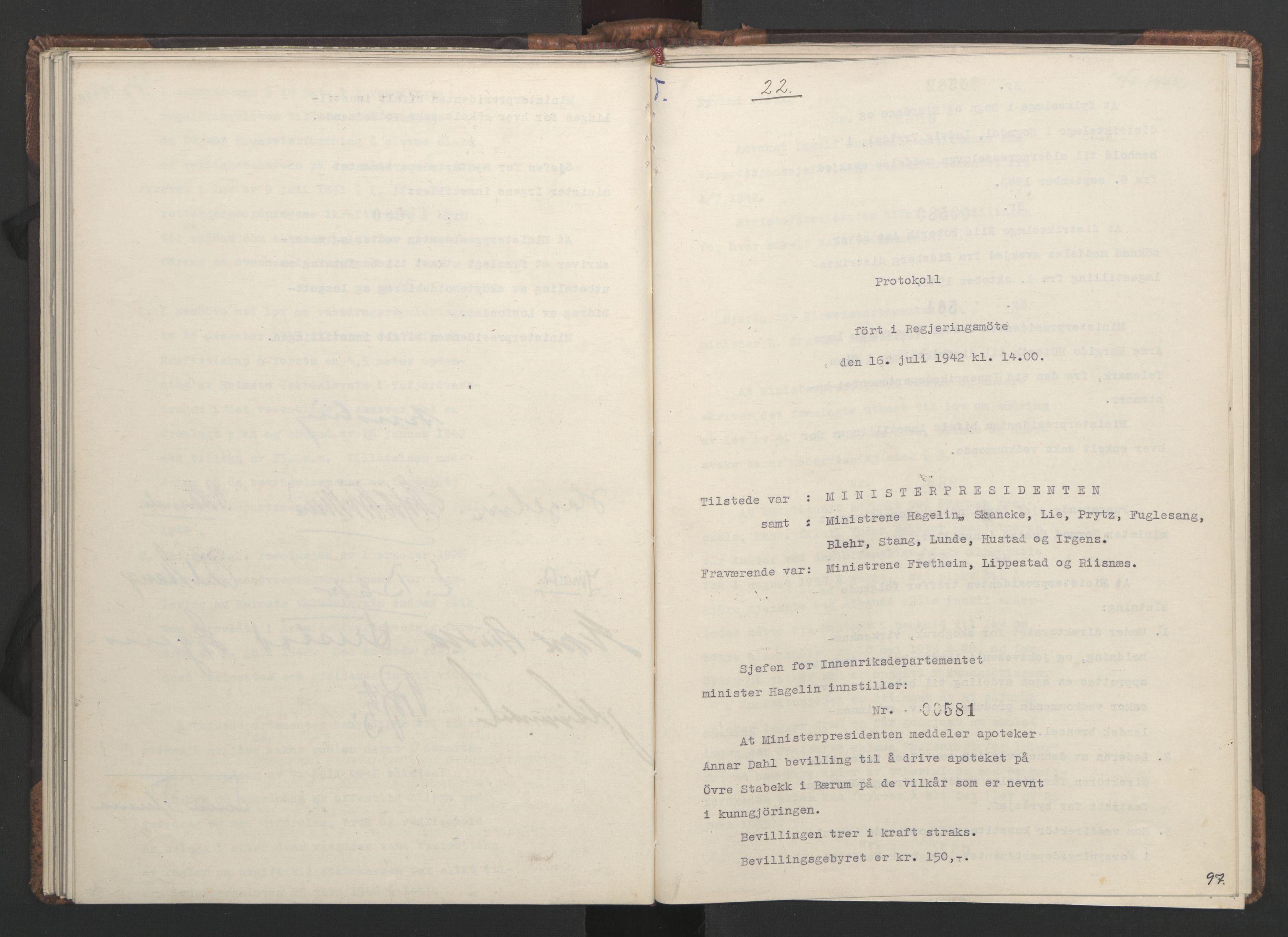 RA, NS-administrasjonen 1940-1945 (Statsrådsekretariatet, de kommisariske statsråder mm), D/Da/L0001: Beslutninger og tillegg (1-952 og 1-32), 1942, s. 96b-97a