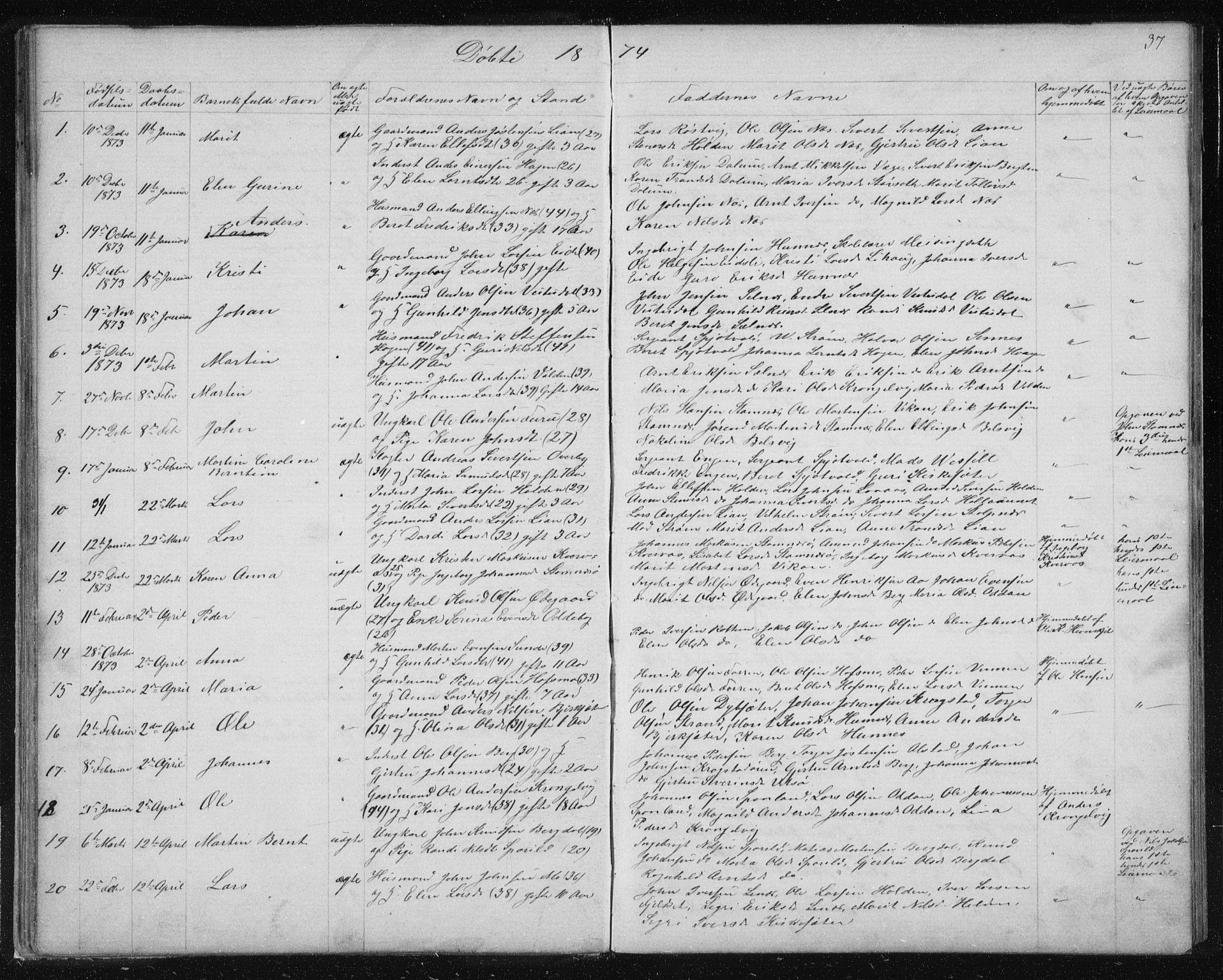 SAT, Ministerialprotokoller, klokkerbøker og fødselsregistre - Sør-Trøndelag, 630/L0503: Klokkerbok nr. 630C01, 1869-1878, s. 37